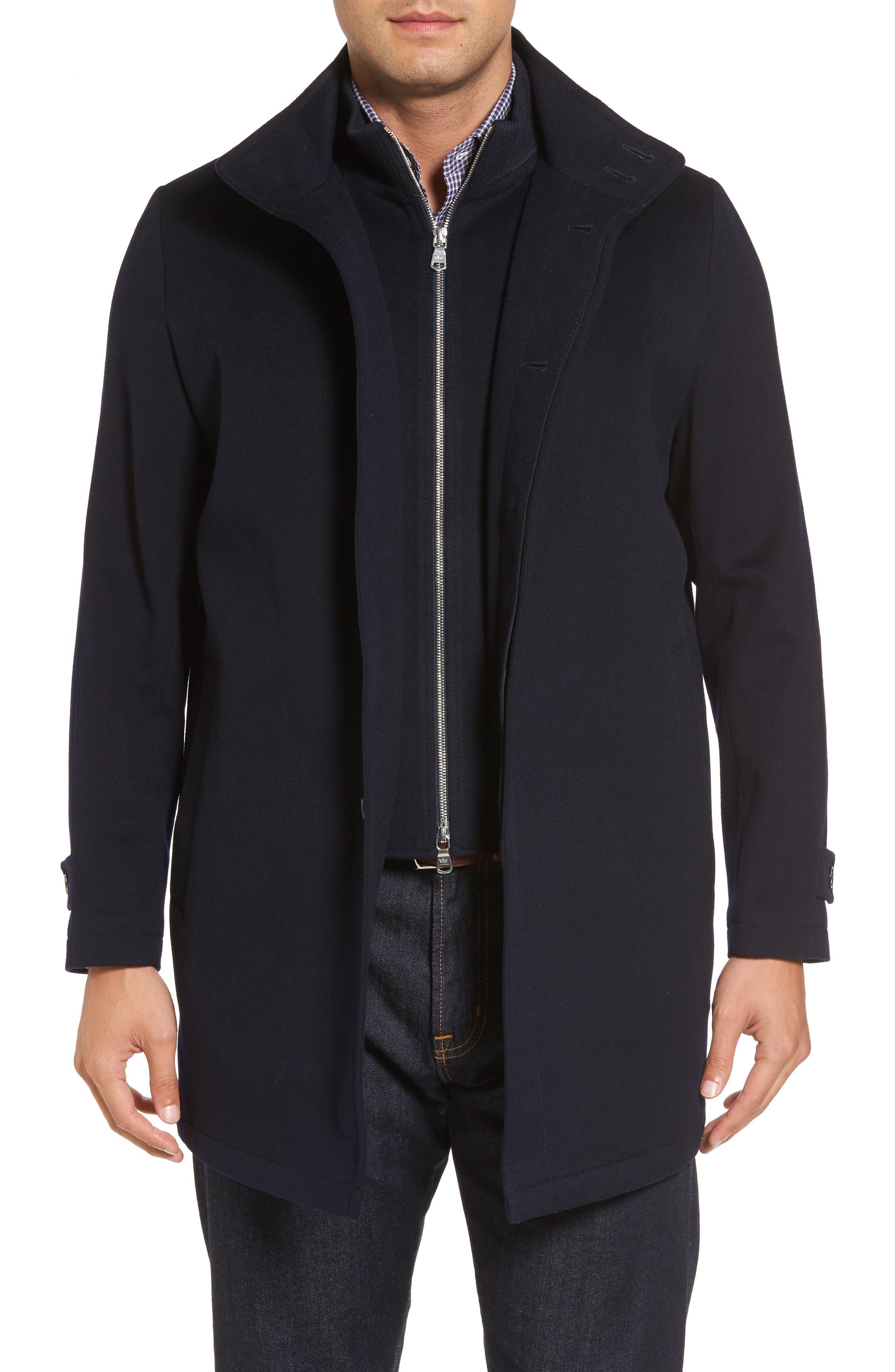Peter Millar Horizon Wool Overcoat,                             Main thumbnail 1, color,                             Black