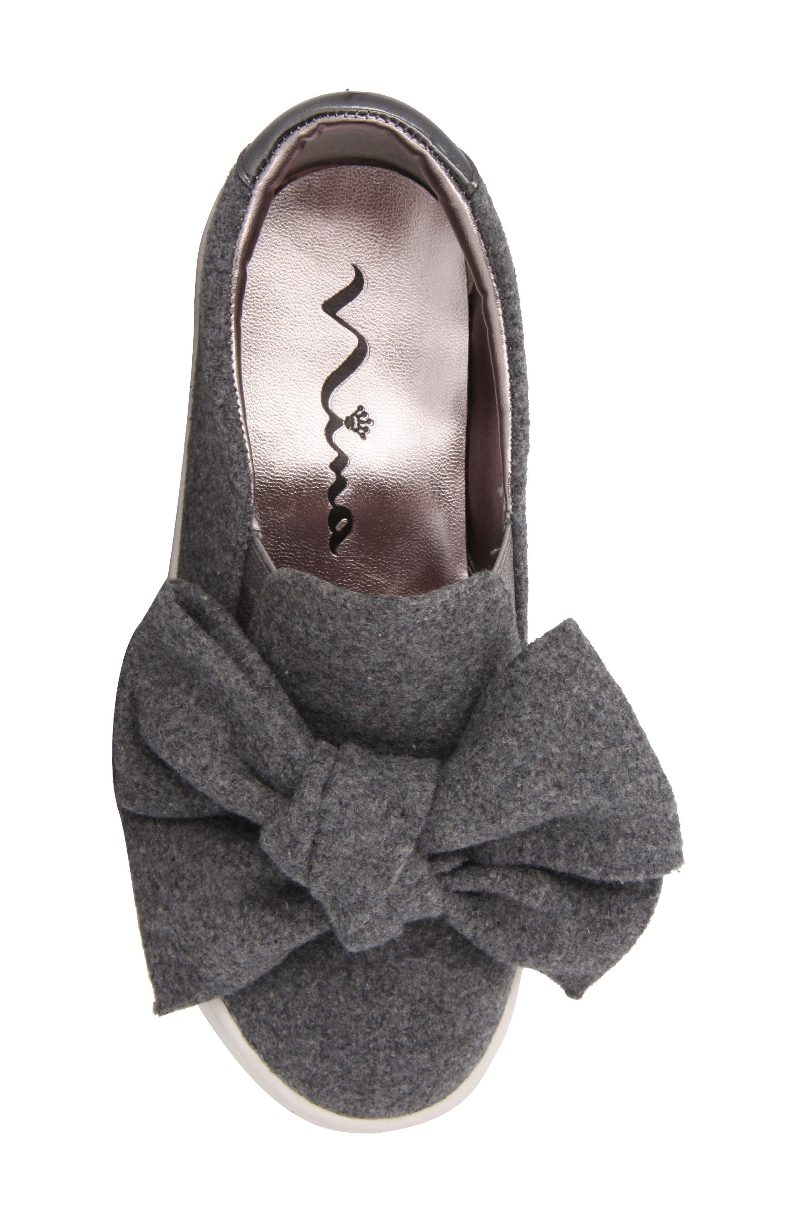 Vaneza Slip-On Bow Sneaker,                             Alternate thumbnail 5, color,                             Grey Flannel