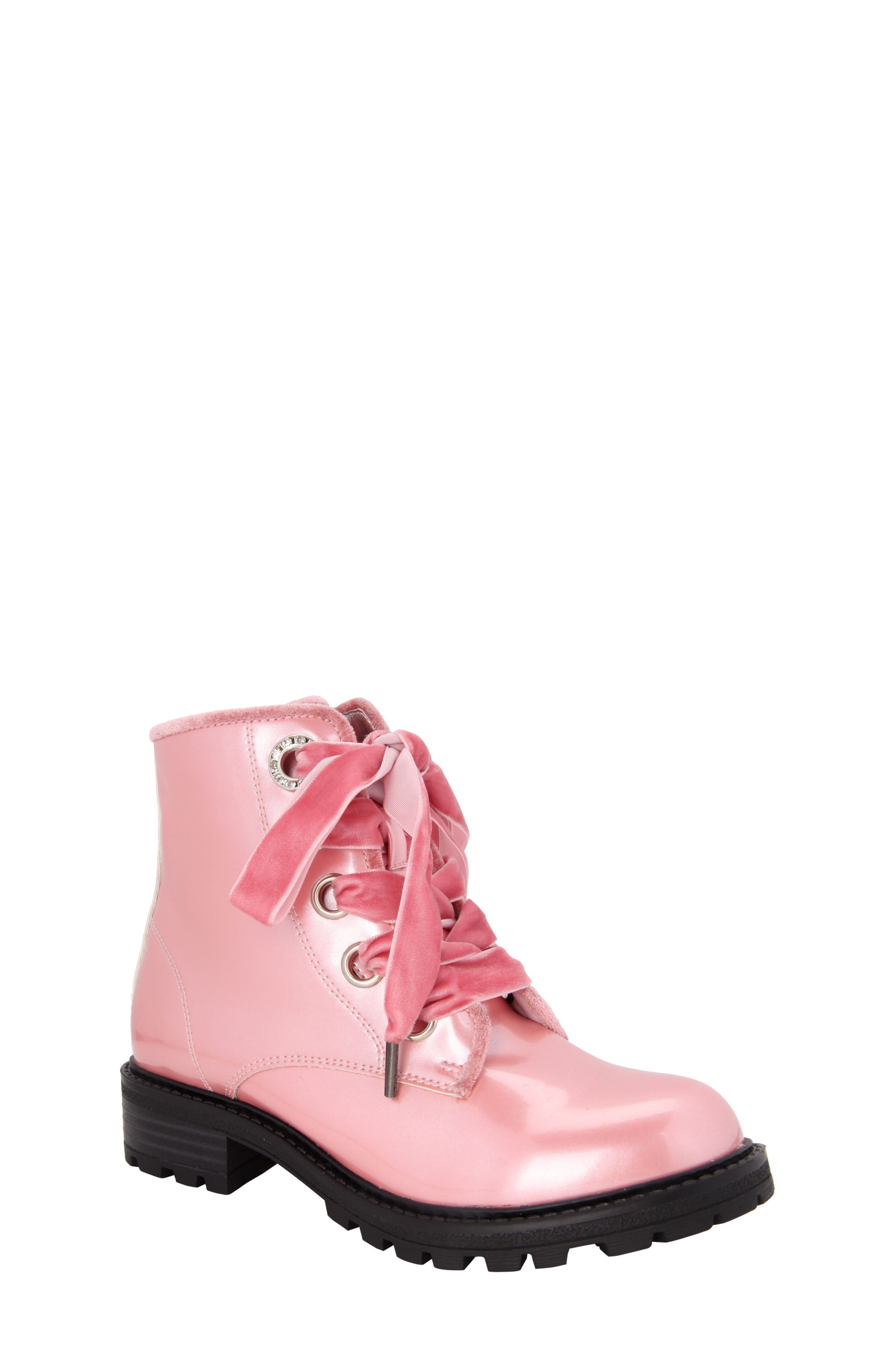 Cherrie Lugged Patent Boot,                         Main,                         color, Blush Faux Patent/ Velvet