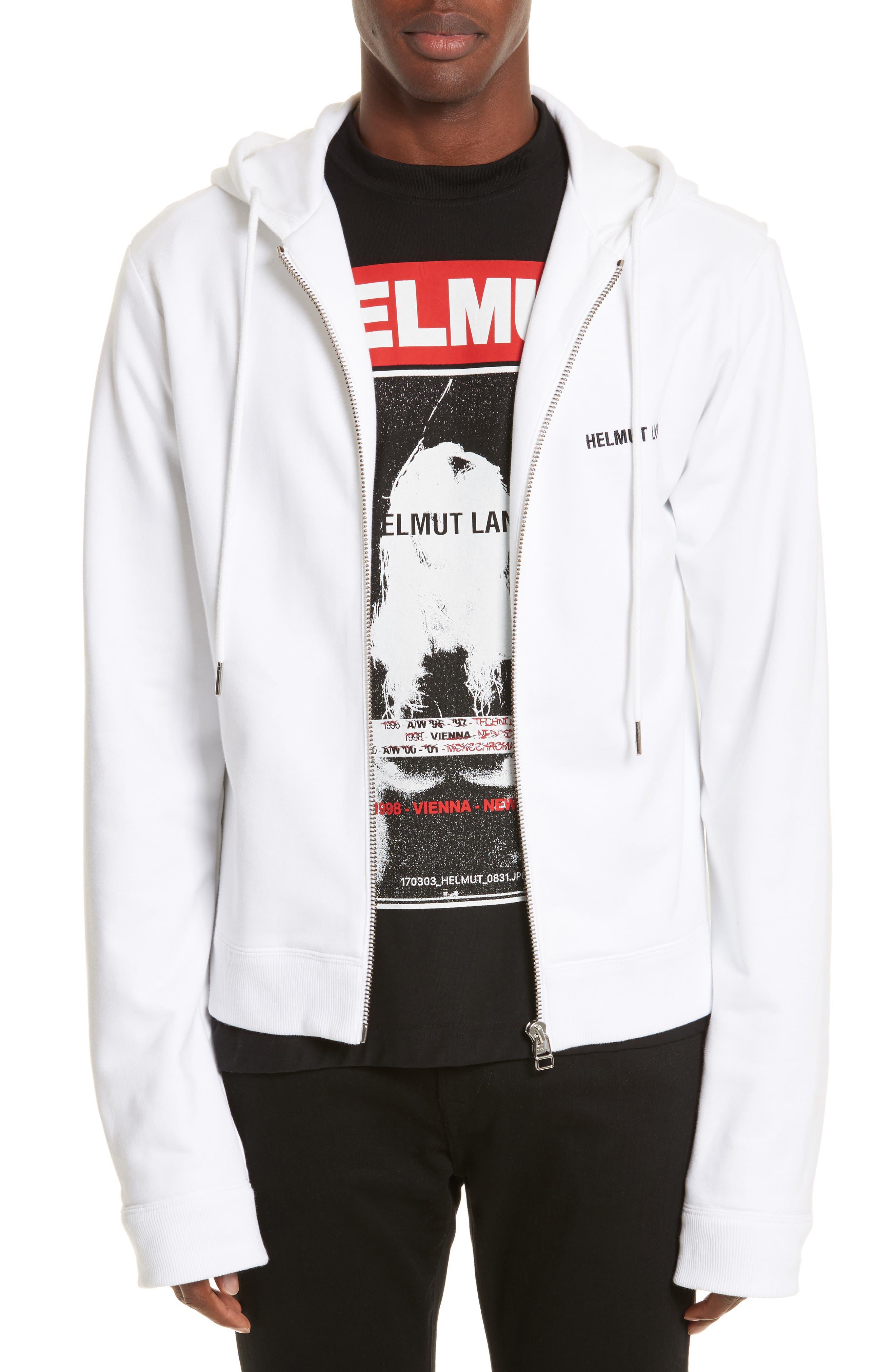 Zip Hoodie,                         Main,                         color, White/ Black
