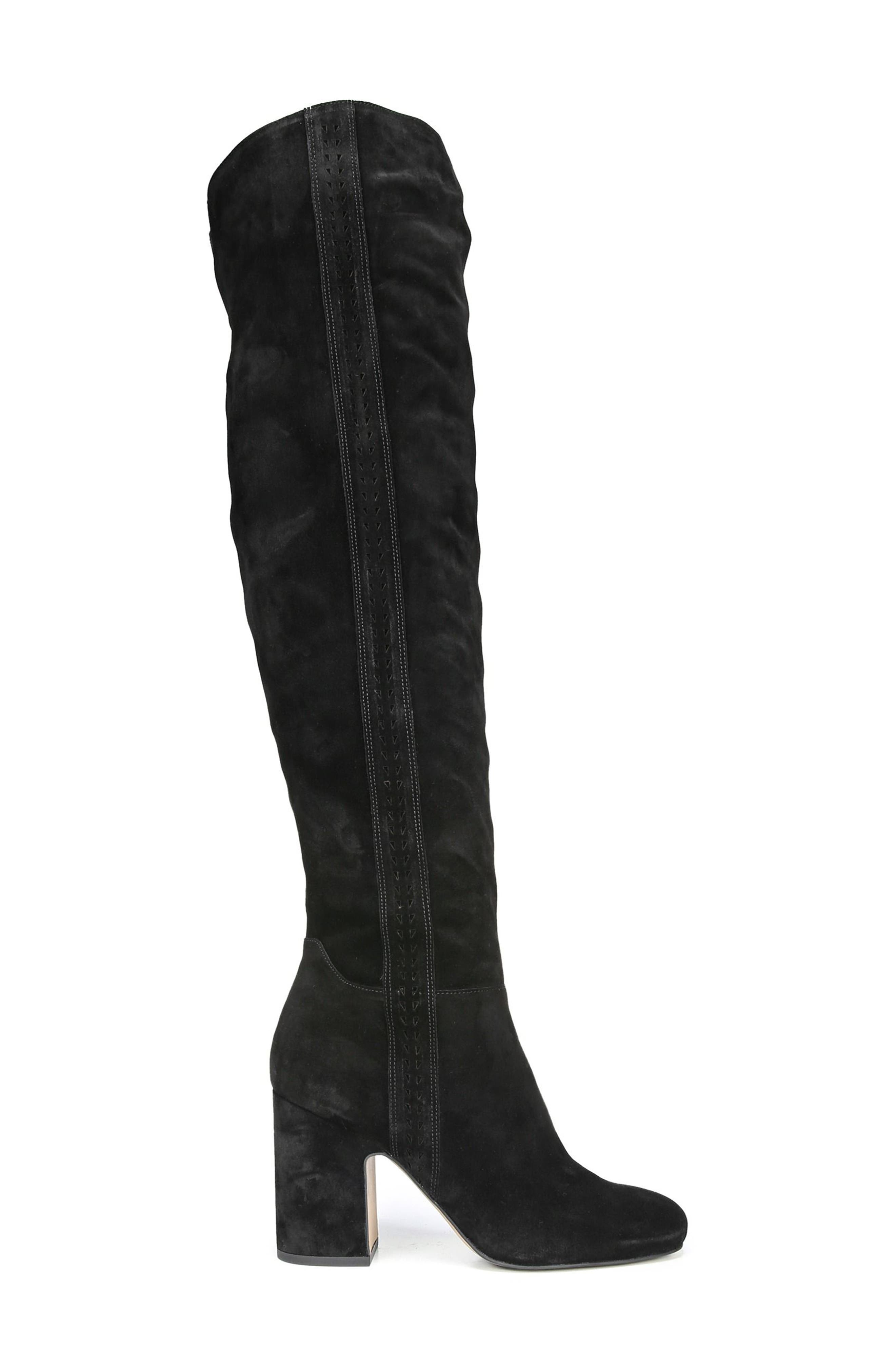 Laurel Over the Knee Boot,                             Alternate thumbnail 3, color,                             Black Suede