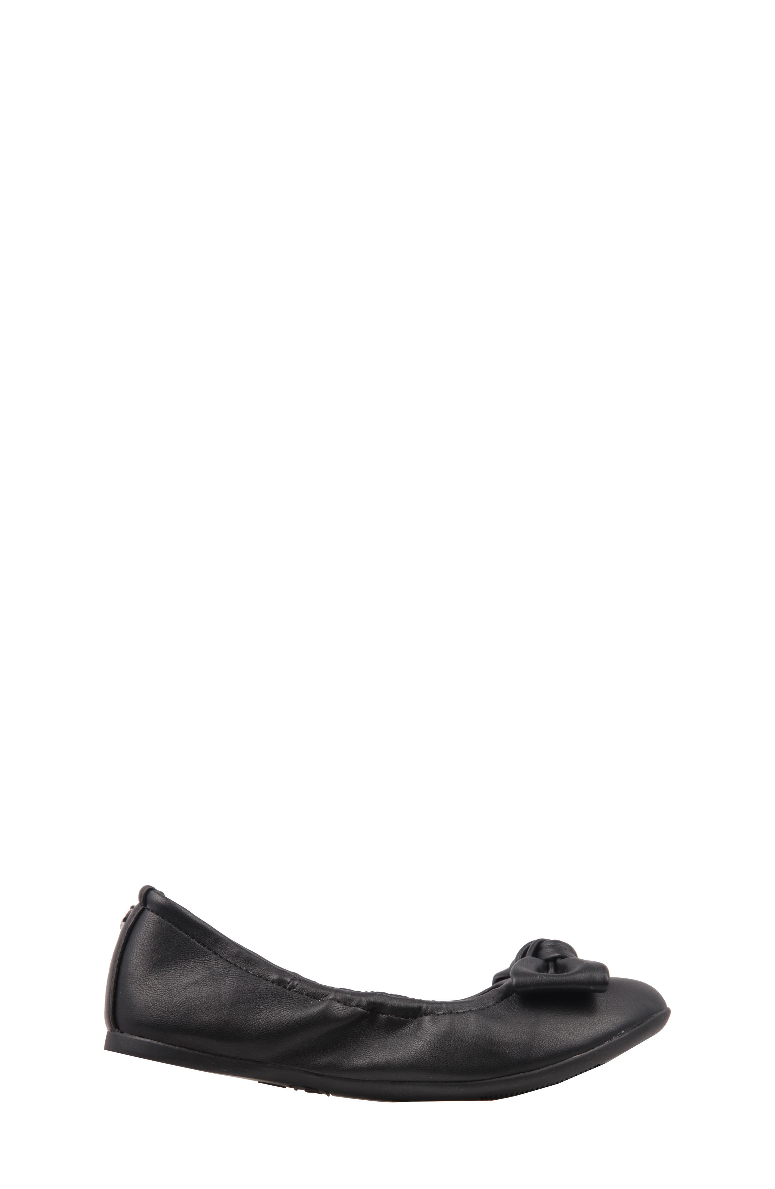 Karla Bow Ballet Flat,                             Alternate thumbnail 3, color,                             Black Smooth Leather