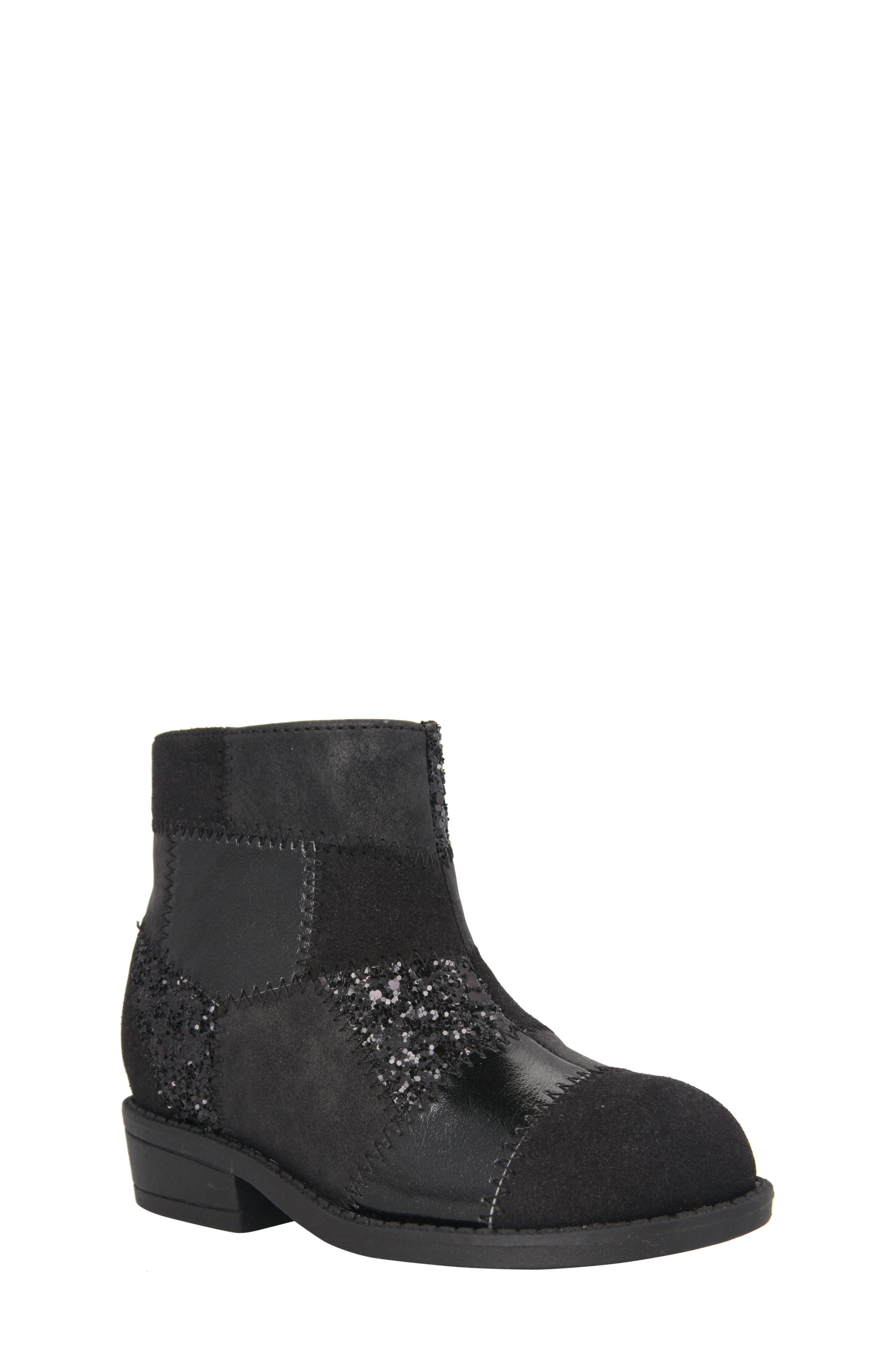 Ines Glittery Patchwork Bootie,                             Main thumbnail 1, color,                             Black Metallic/ Black Glitter