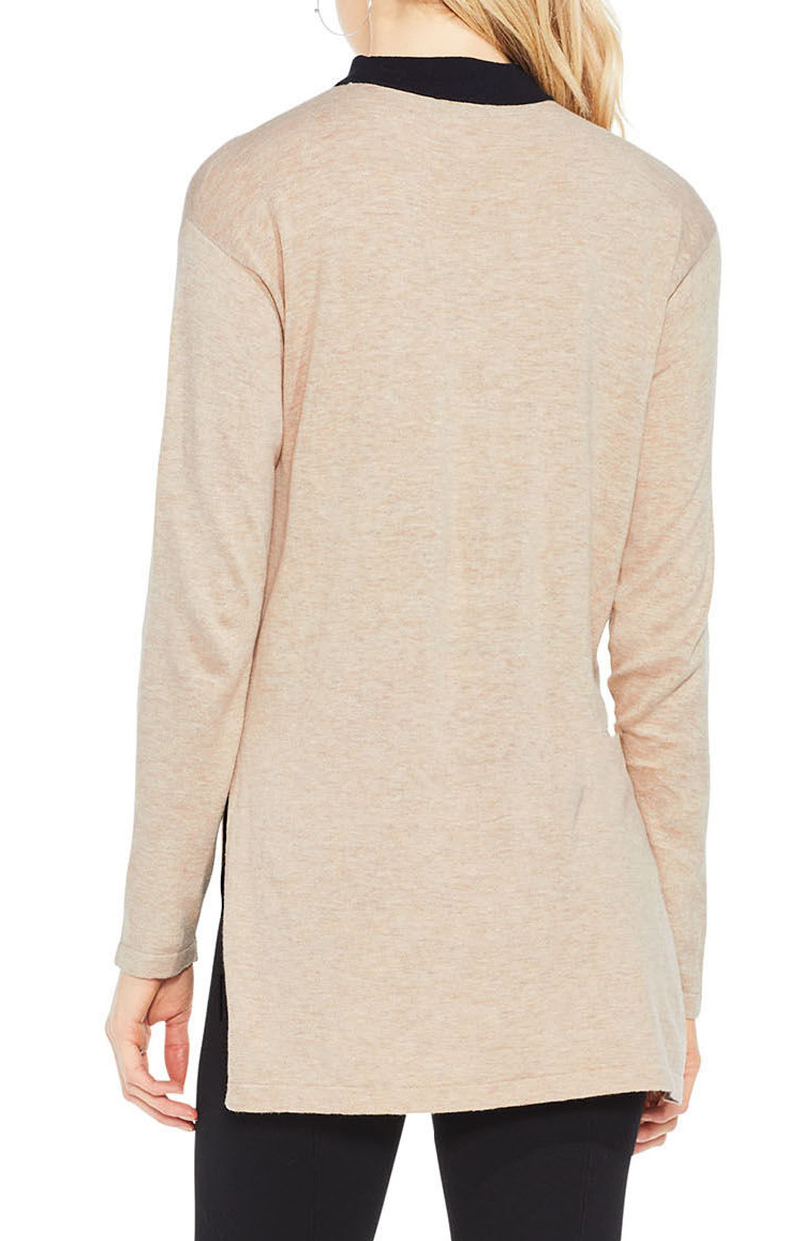 Choker V-Neck Sweater,                             Alternate thumbnail 3, color,                             Warm Camel Heather