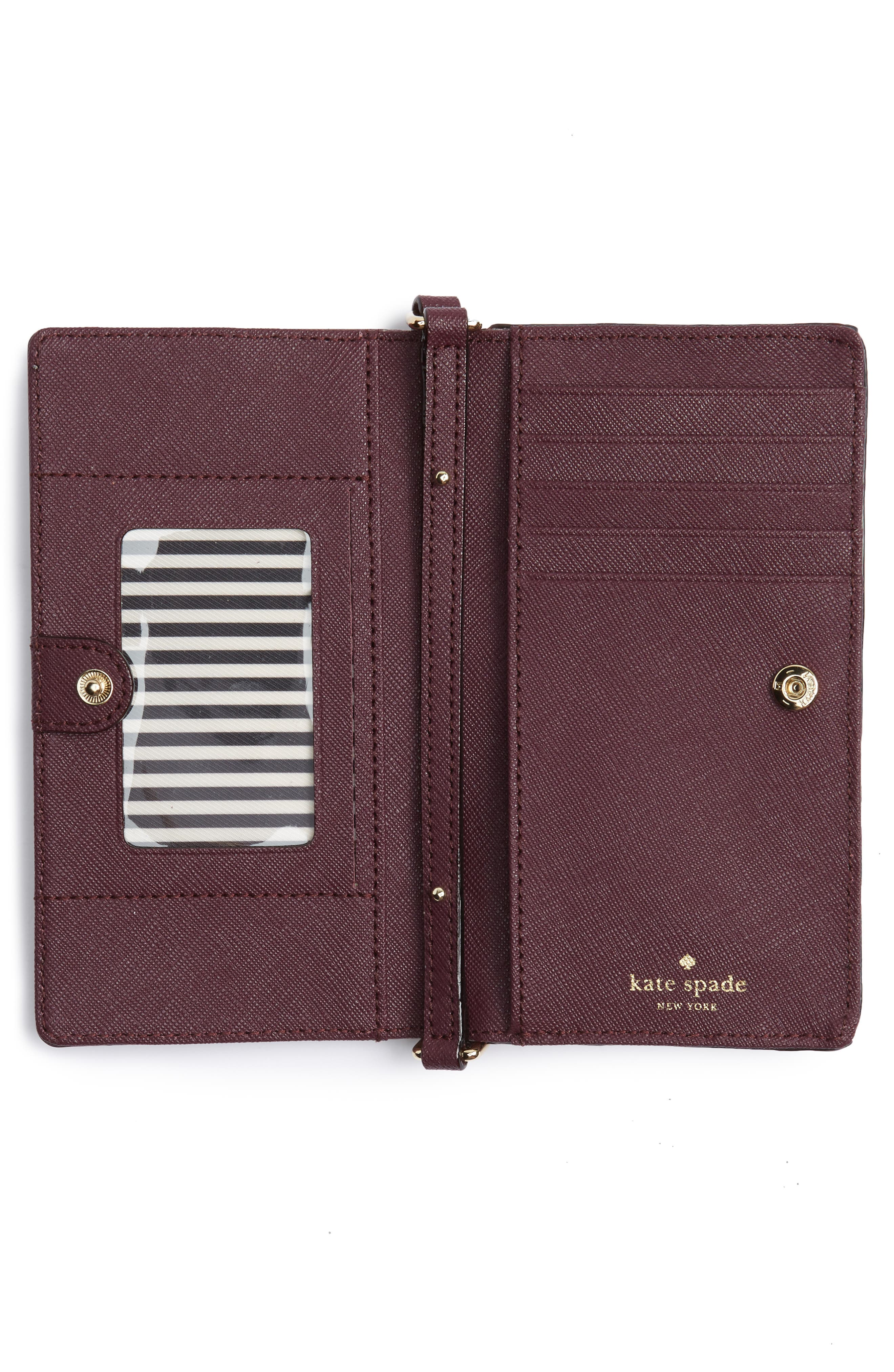 iPhone 7 leather crossbody wallet,                             Alternate thumbnail 5, color,                             Deep Plum