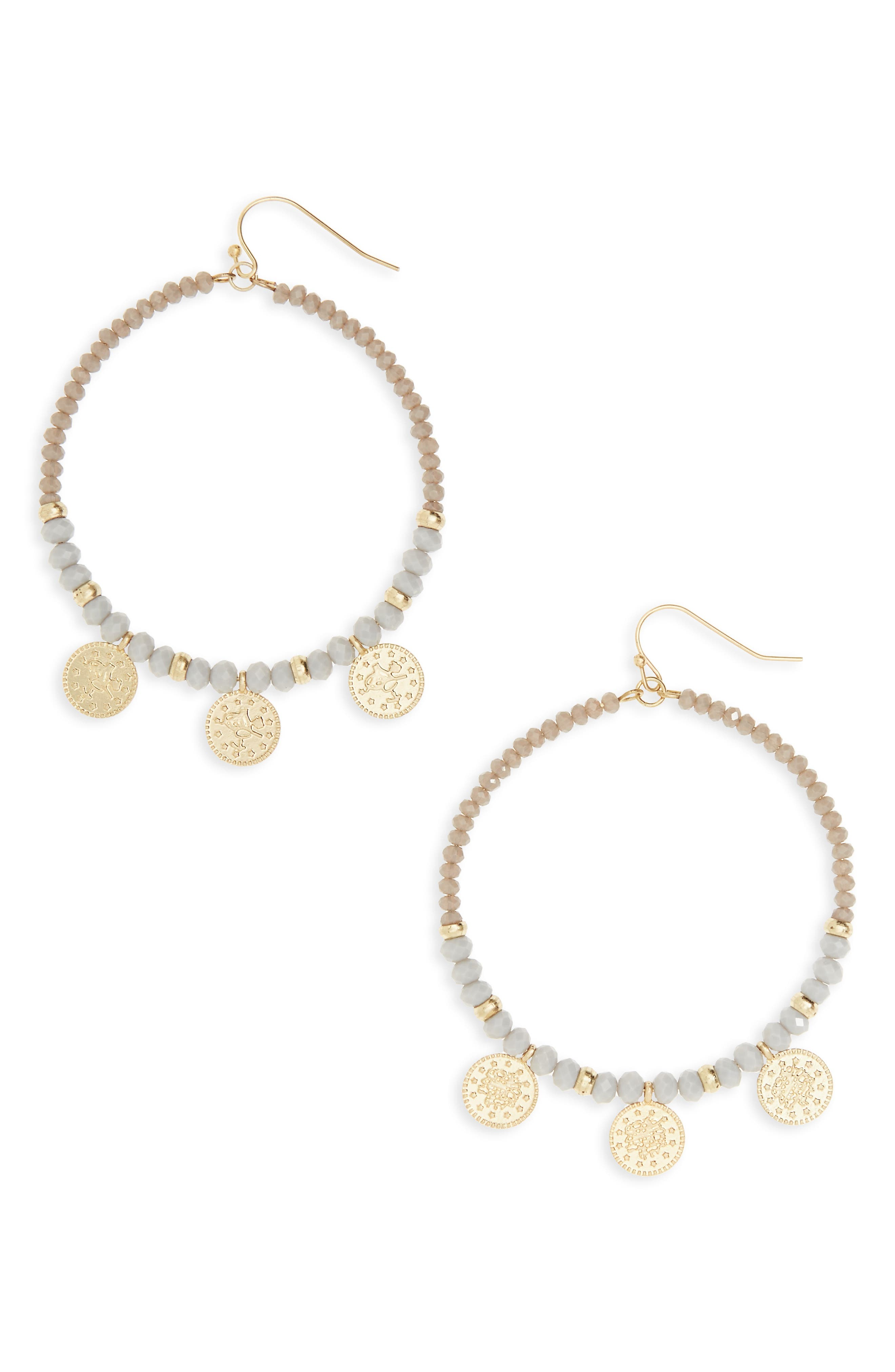 Coin Charm Hoop Earrings,                         Main,                         color, Grey