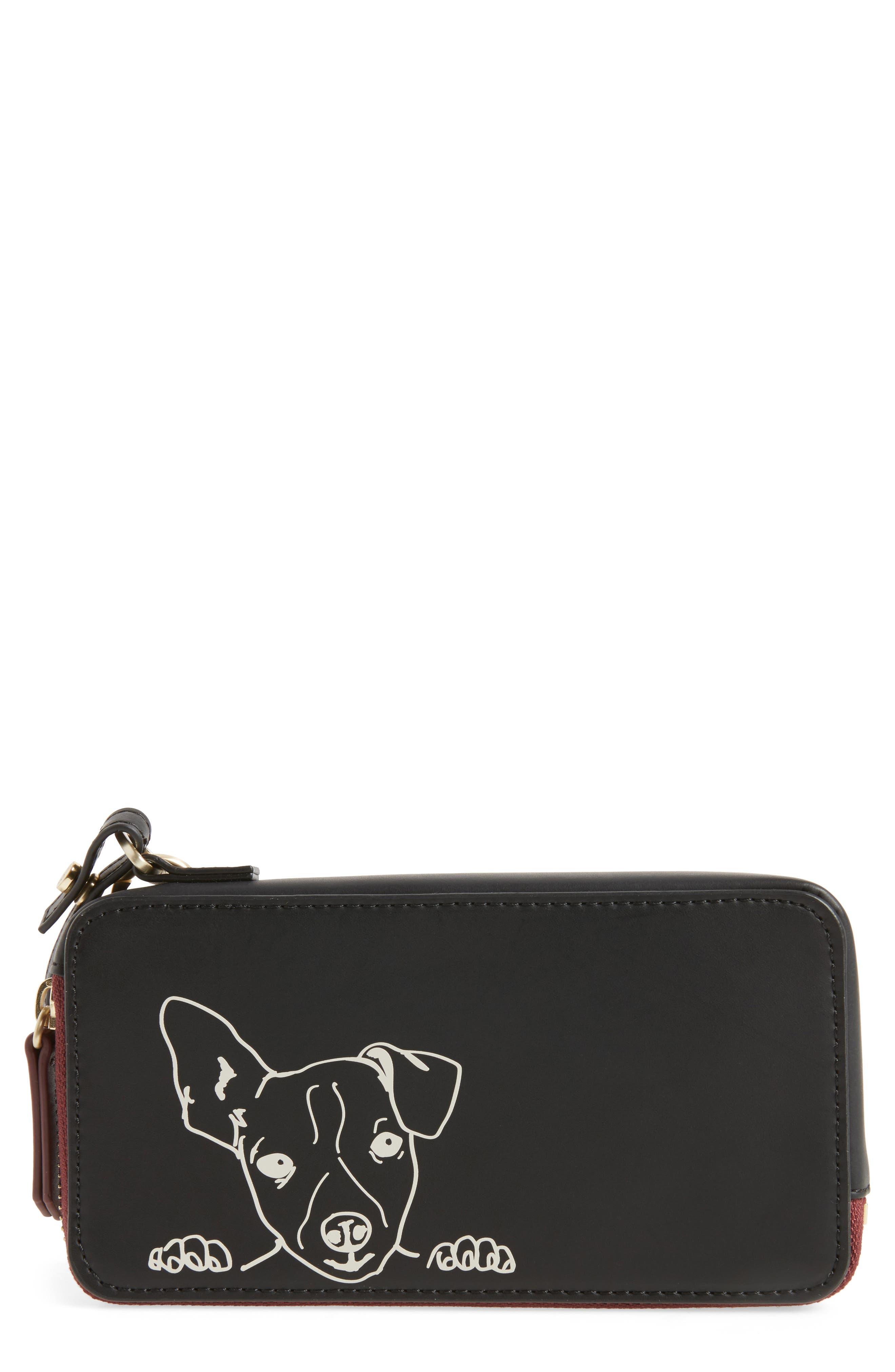 Brea Convertible Smartphone Leather Clutch,                         Main,                         color, Black