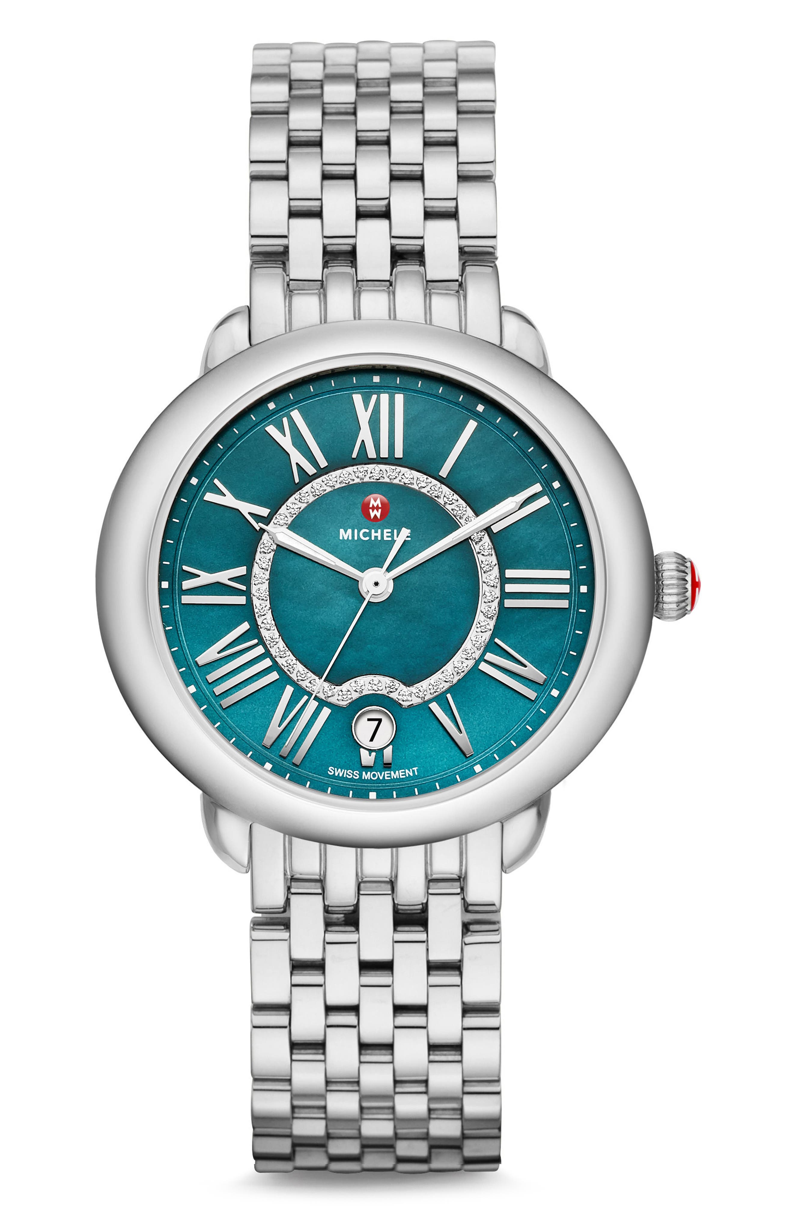 Serein Mid Diamond Teal Watch Head, 40mm x 38mm,                             Alternate thumbnail 2, color,                             Silver/ Teal