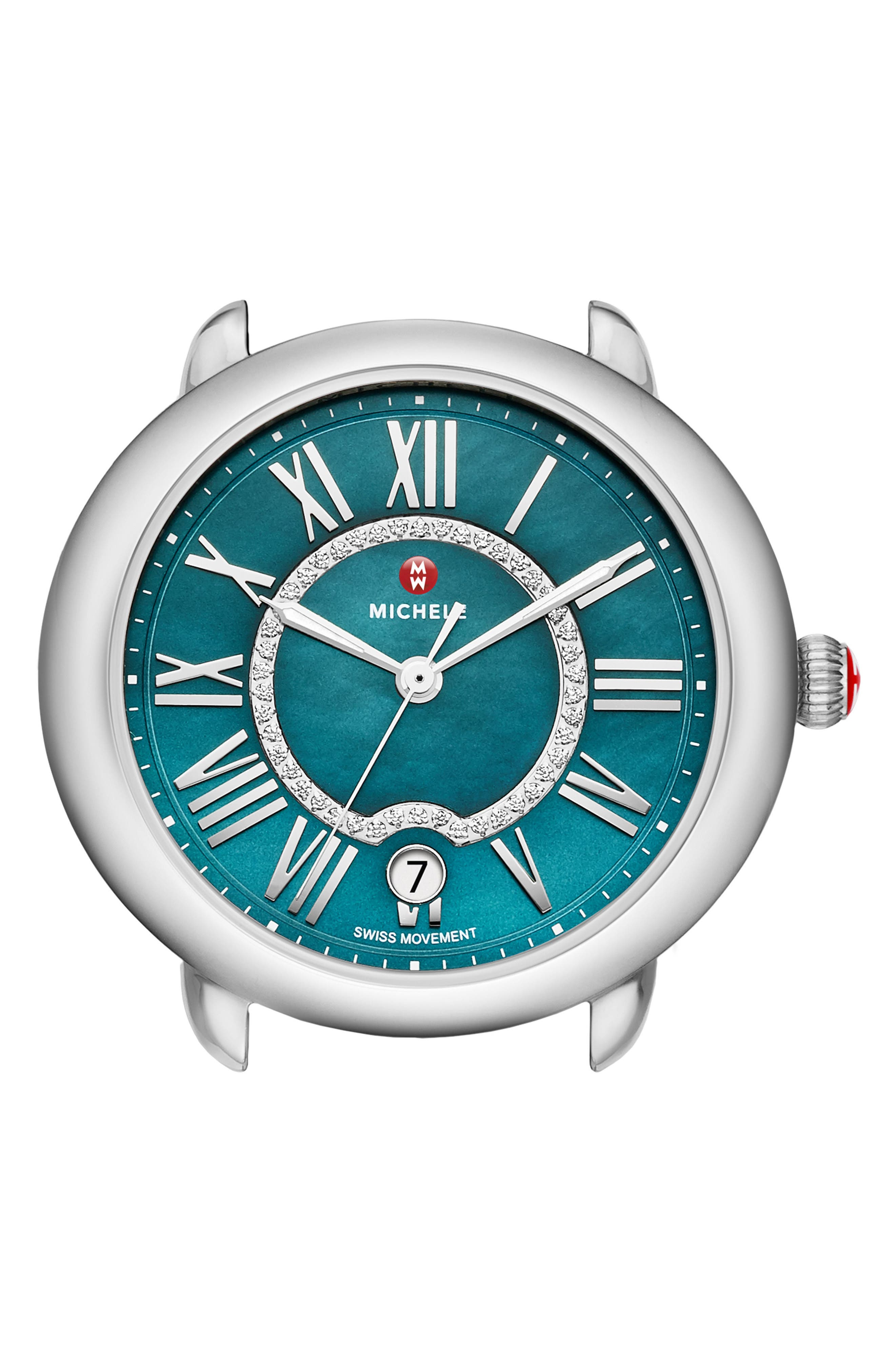 Serein Mid Diamond Teal Watch Head, 40mm x 38mm,                         Main,                         color, Silver/ Teal