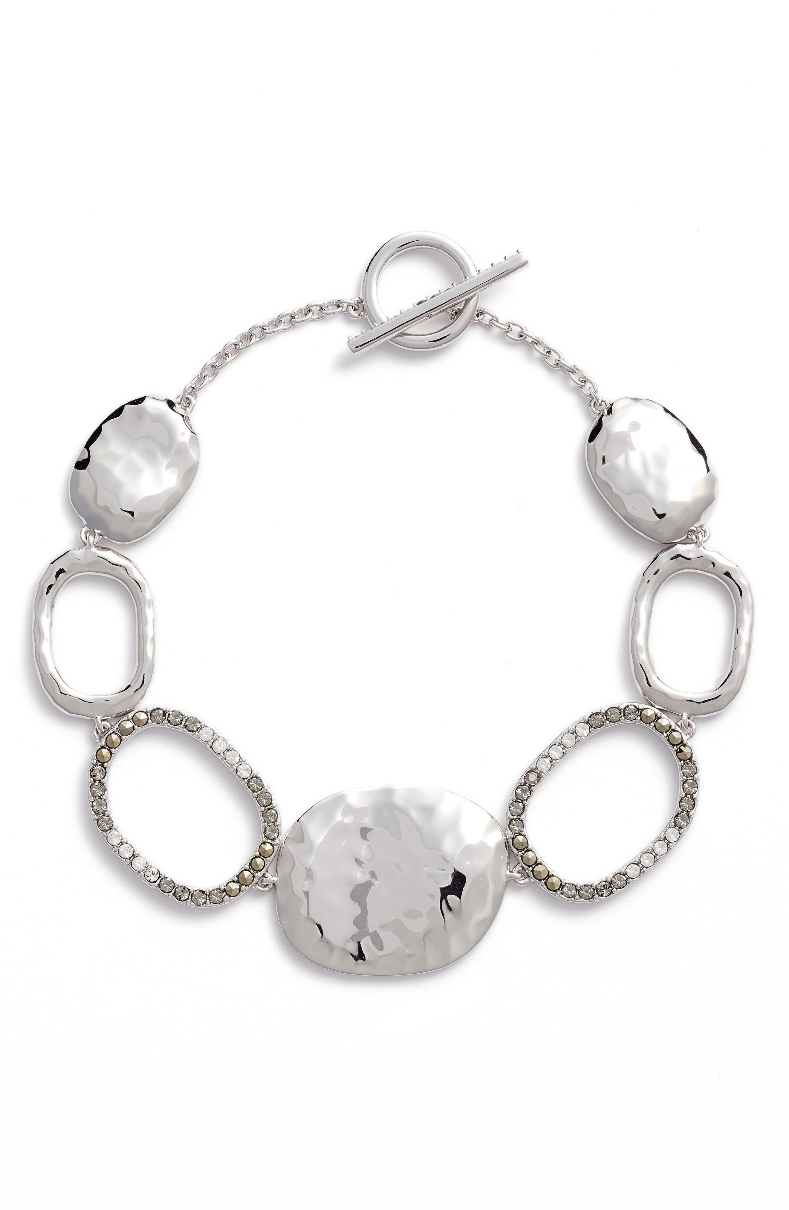 Semiprecious Stone Link Bracelet,                         Main,                         color, Silver