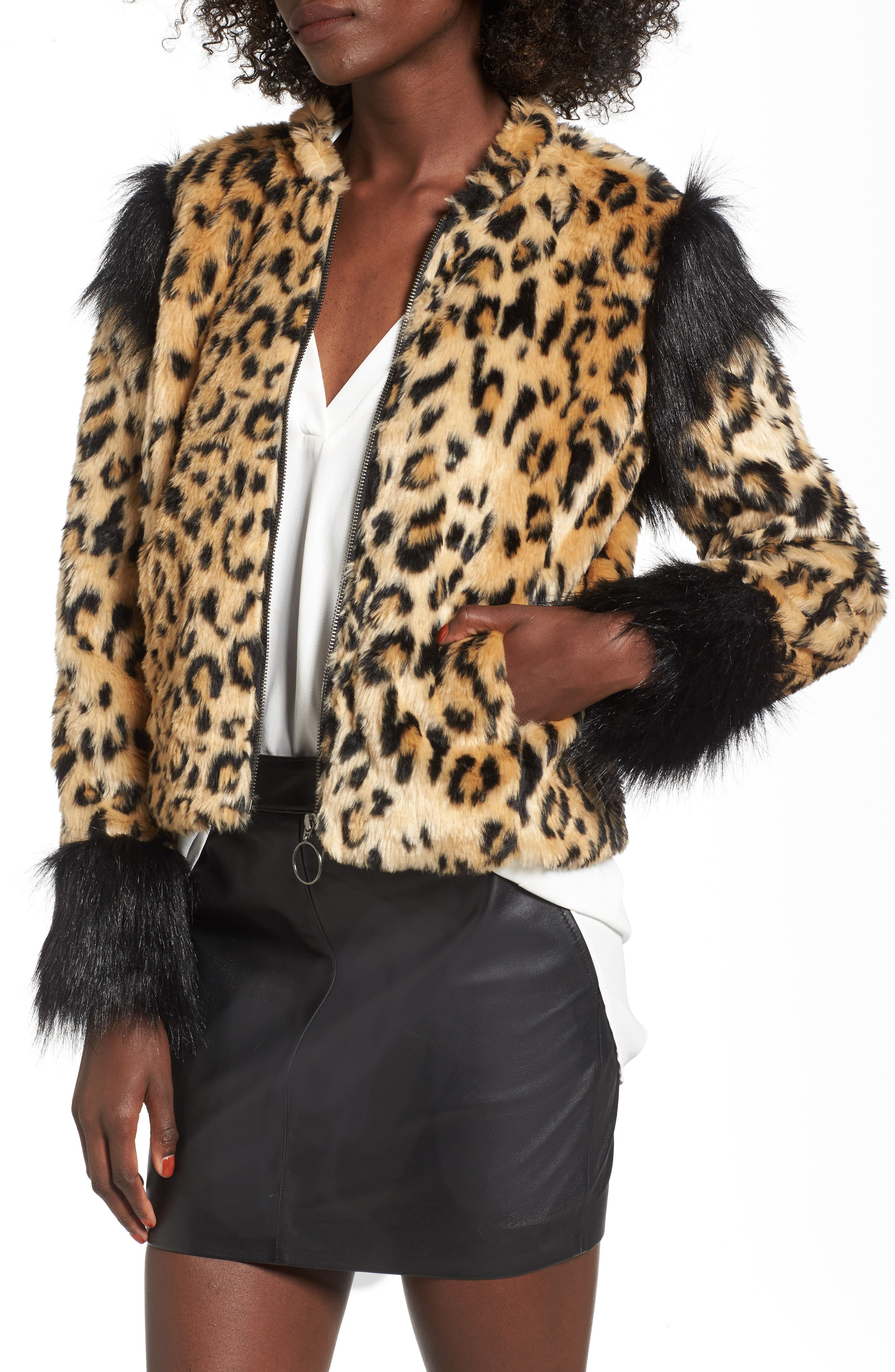 Alternate Image 1 Selected - Leith Mixed Media Faux Fur Jacket