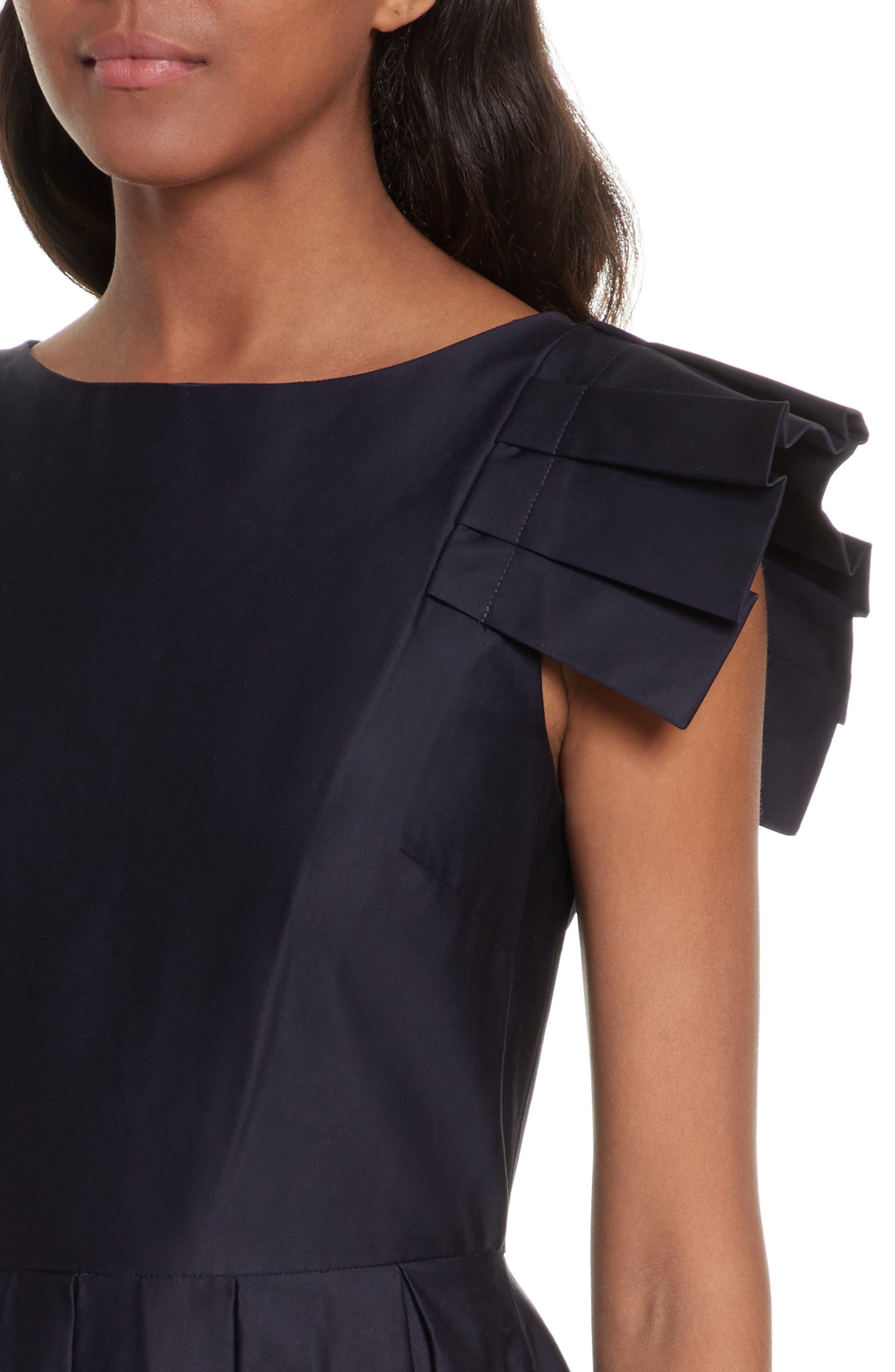 Gabrina Fit & Flare Dress,                             Alternate thumbnail 4, color,                             Navy