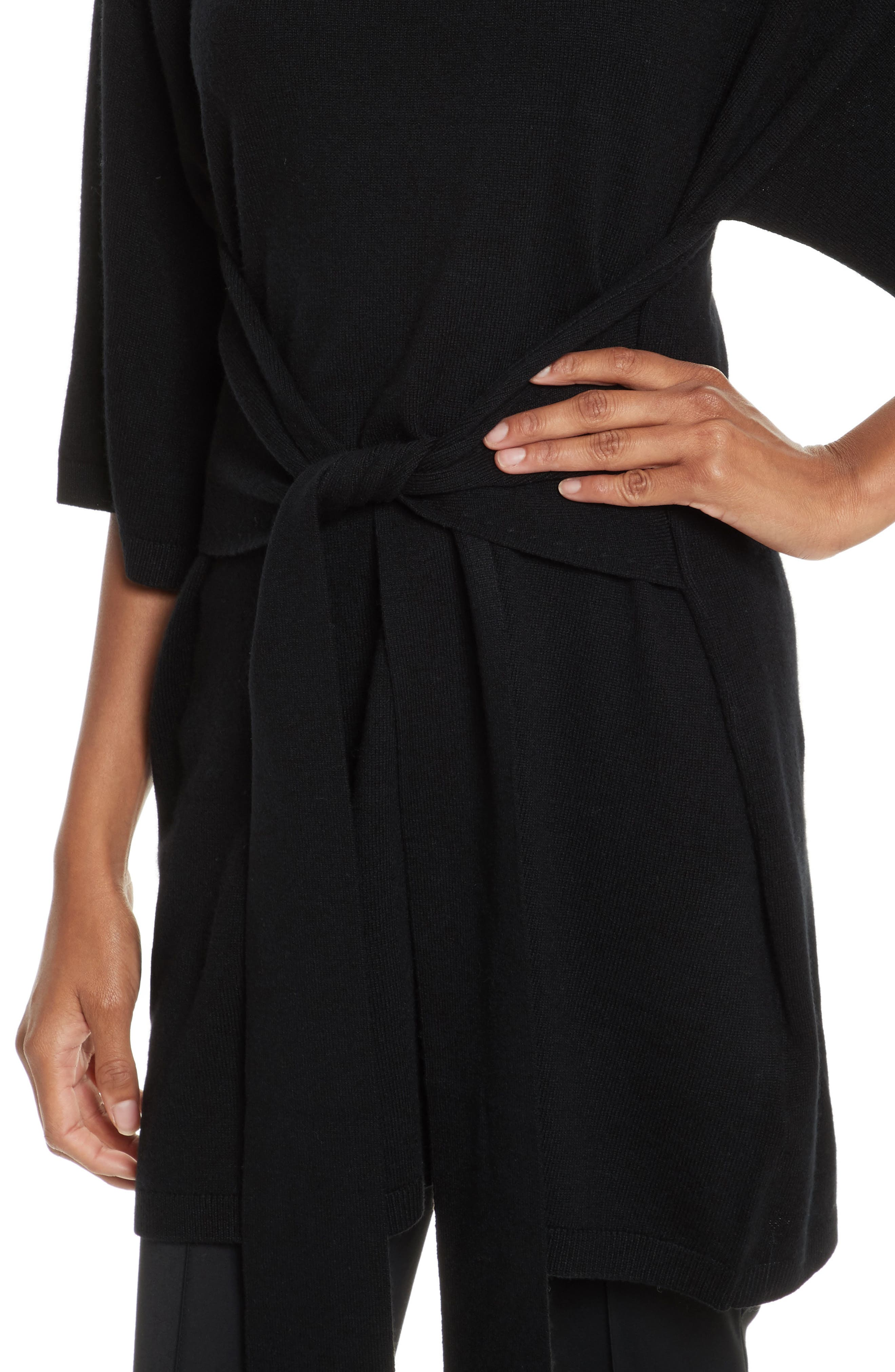 Olympy Tie Front Knit Tunic,                             Alternate thumbnail 4, color,                             Black