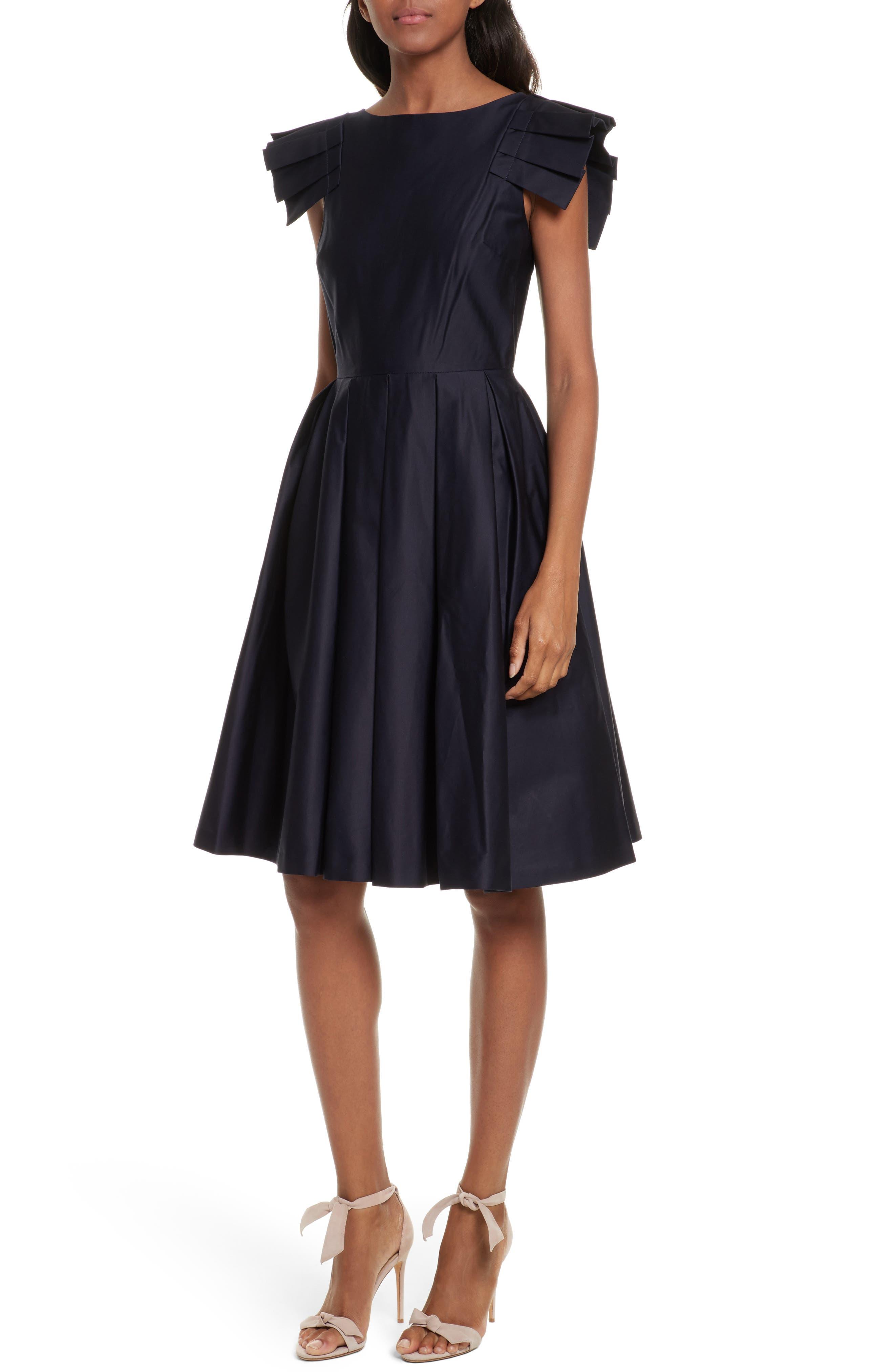 Gabrina Fit & Flare Dress,                             Main thumbnail 1, color,                             Navy