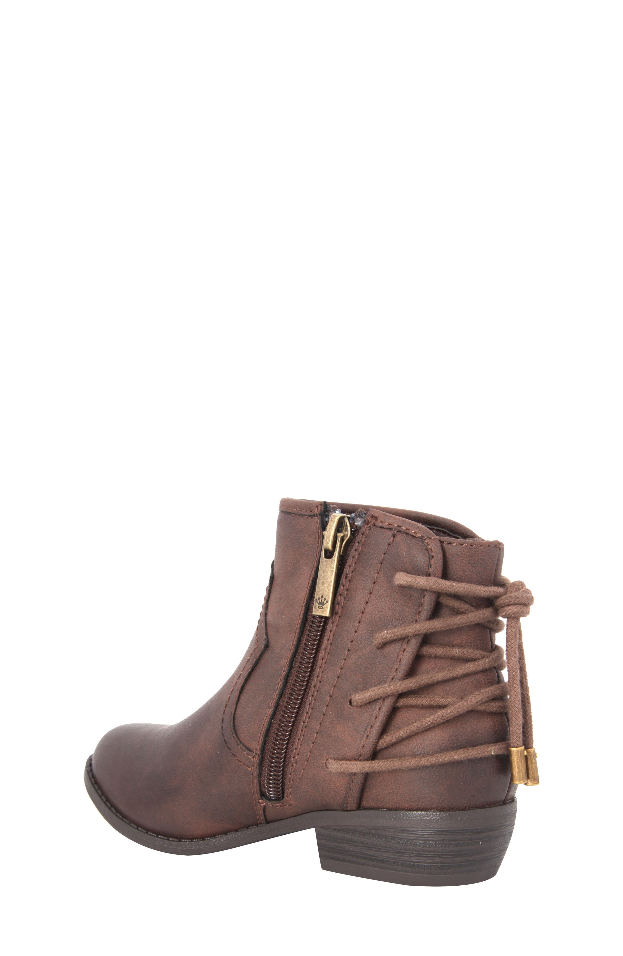Evette Distressed Back-Lace Bootie,                             Alternate thumbnail 2, color,                             Brown Faux Leather