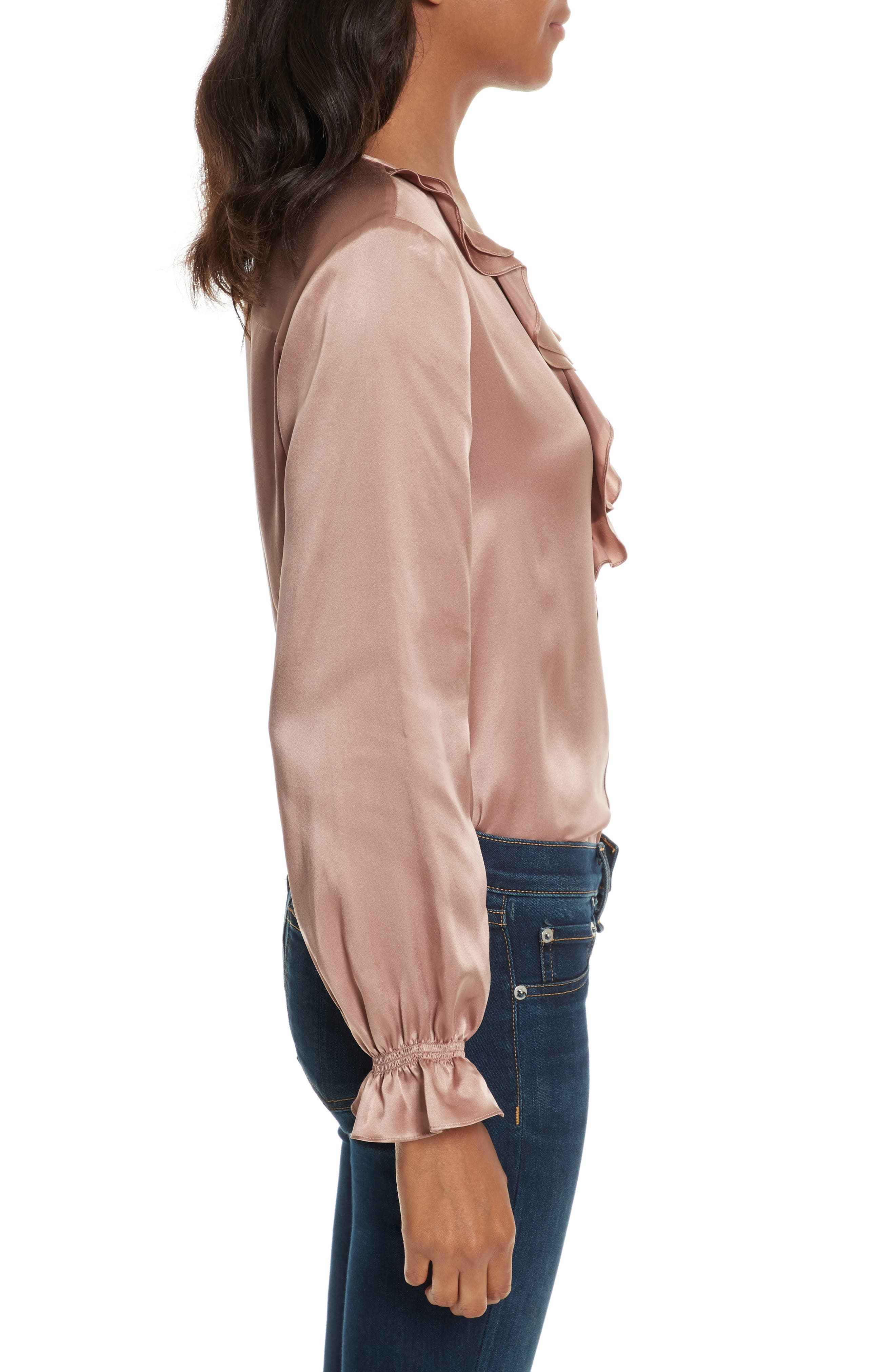 Jayanne B Silk Blouse,                             Alternate thumbnail 3, color,                             Dried Rose
