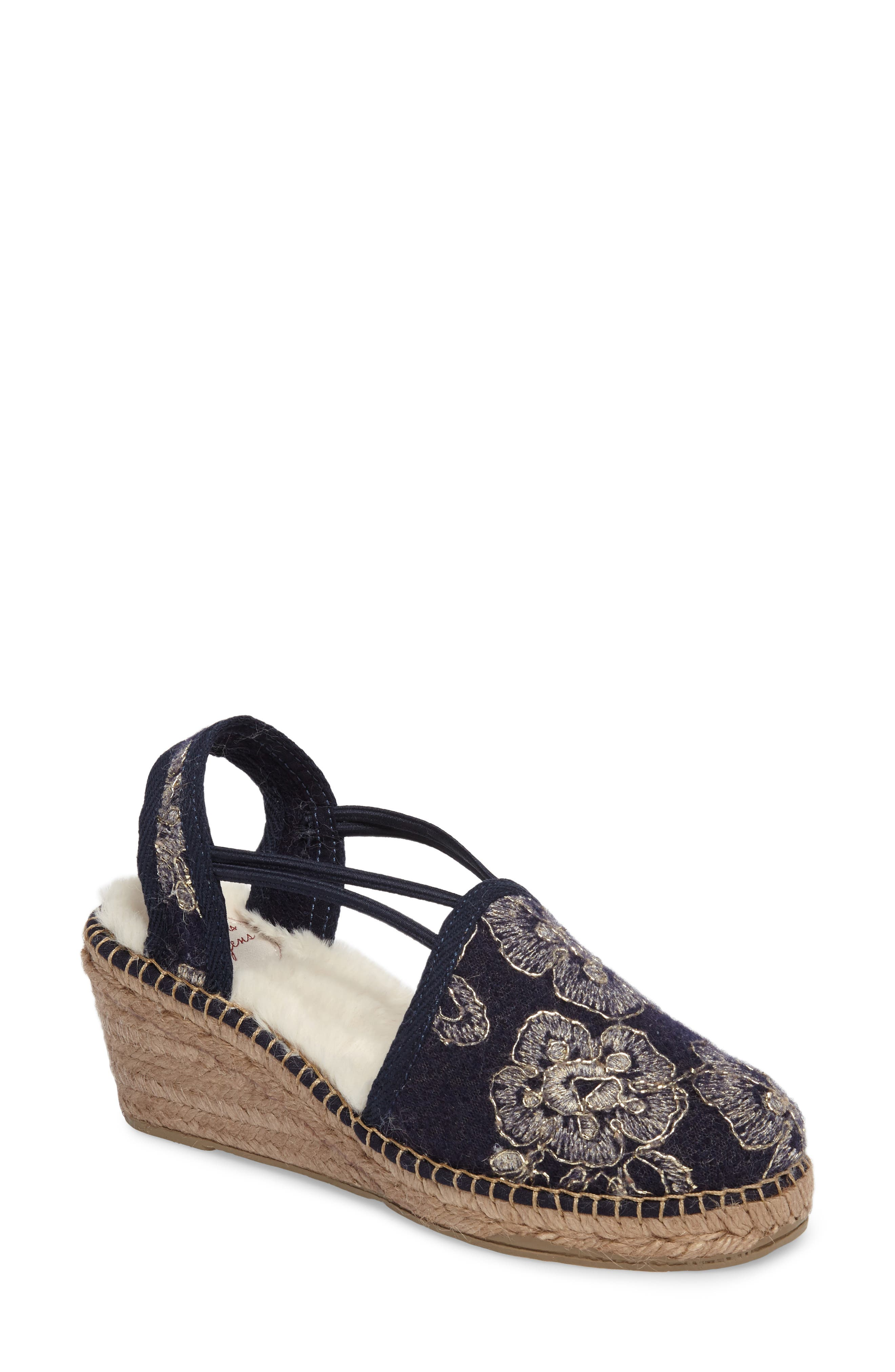 Medan Faux Fur Lined Espadrille Wedge,                             Main thumbnail 1, color,                             Navy Fabric