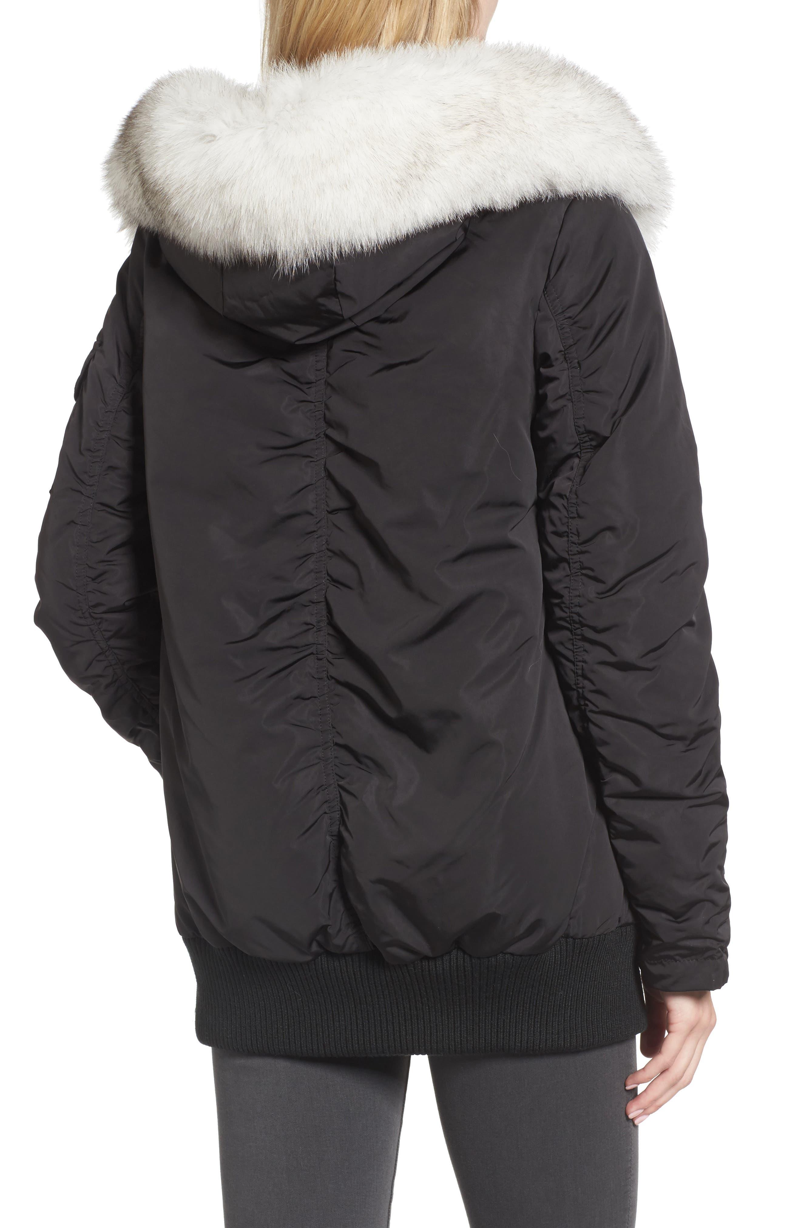 Genuine Fox Fur Trim Down Bomber Jacket,                             Alternate thumbnail 2, color,                             Black