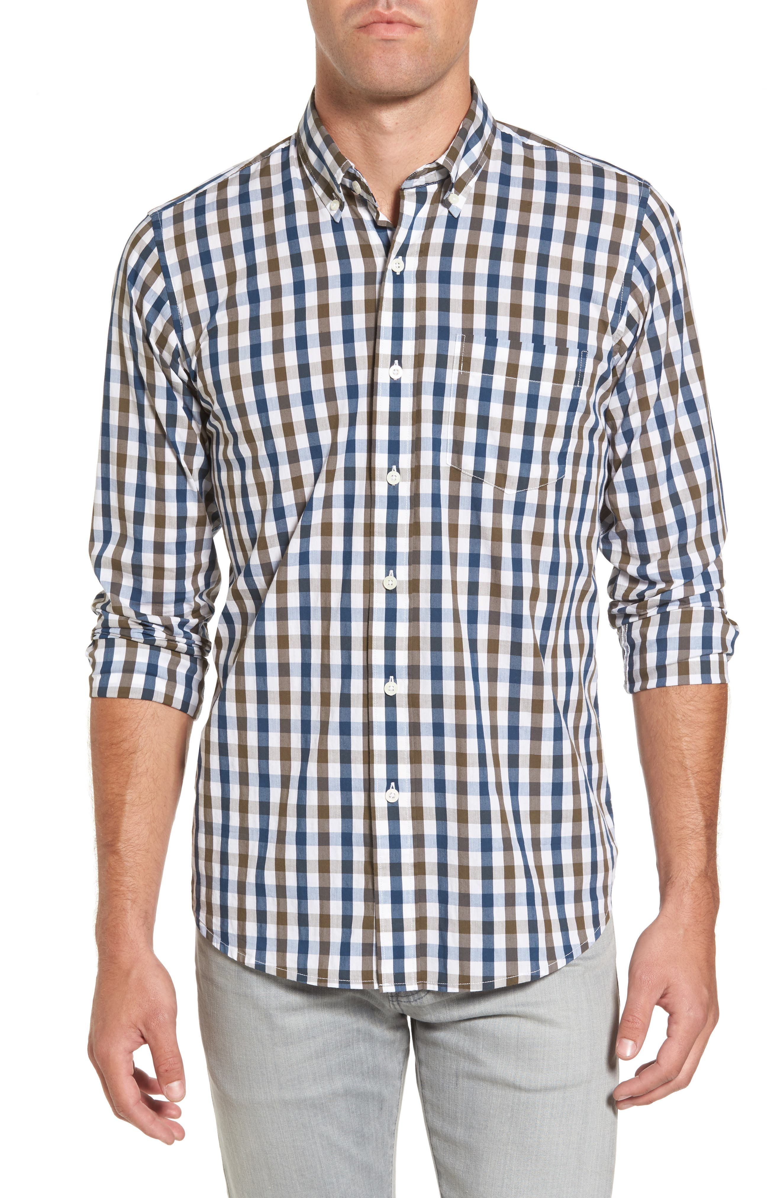 Regular Fit Performance Sport Shirt,                         Main,                         color, Teal/ Army Tricolor Gingham