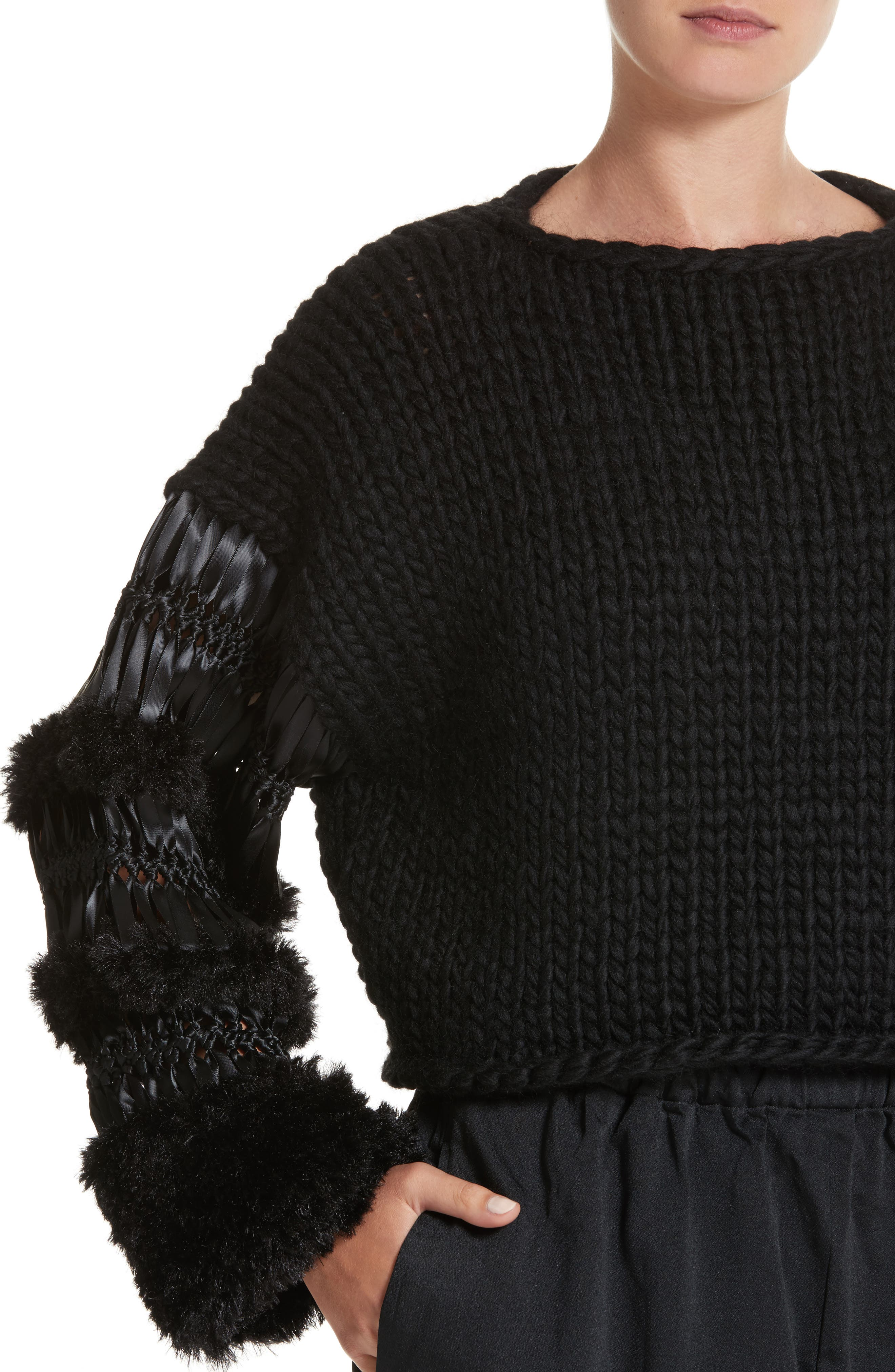 Alternate Image 4  - noir kei ninomiya Mixed Media Sweater