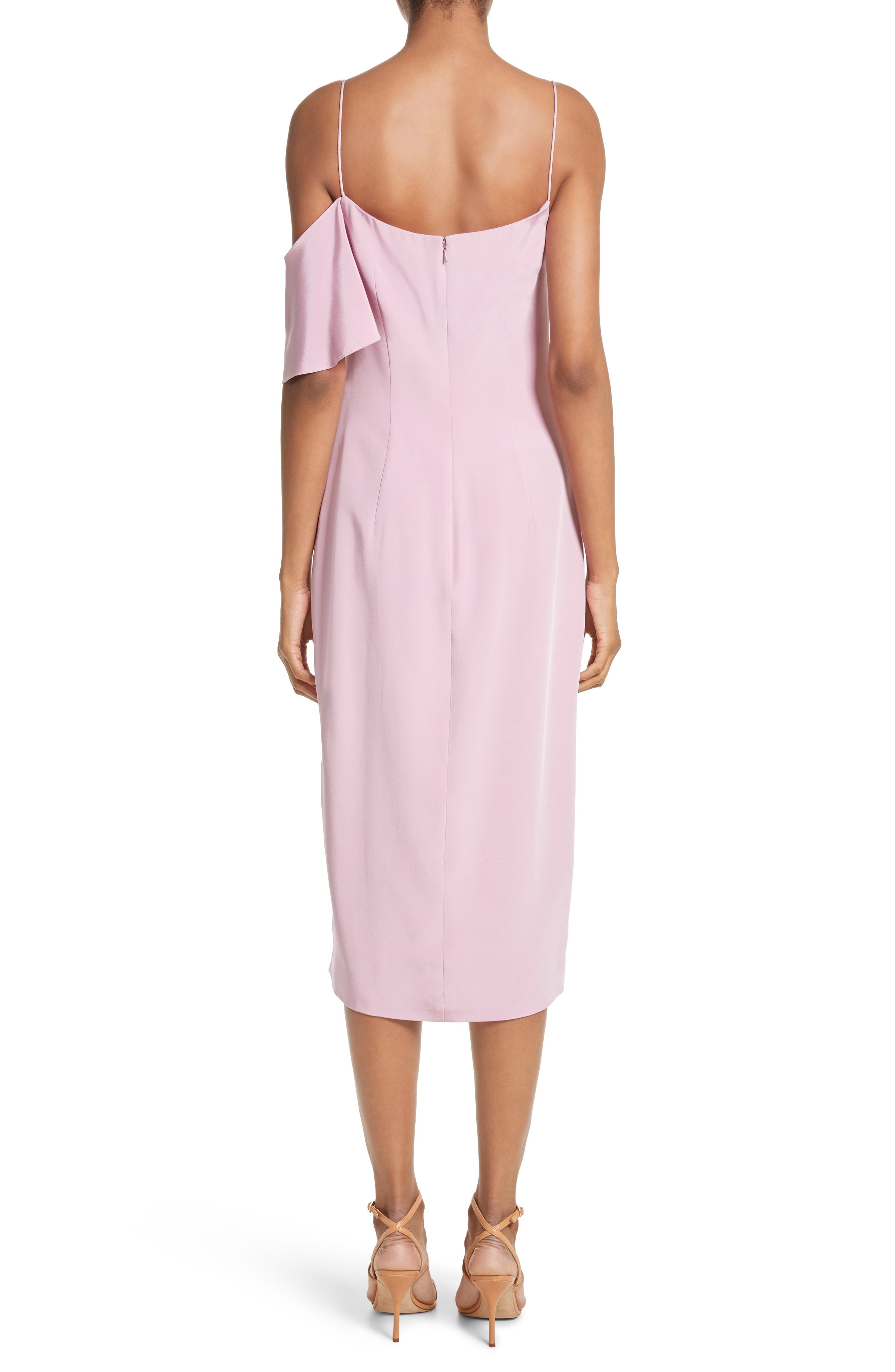 Asymmetrical Ruffle Silk Dress,                             Alternate thumbnail 3, color,                             Quartz
