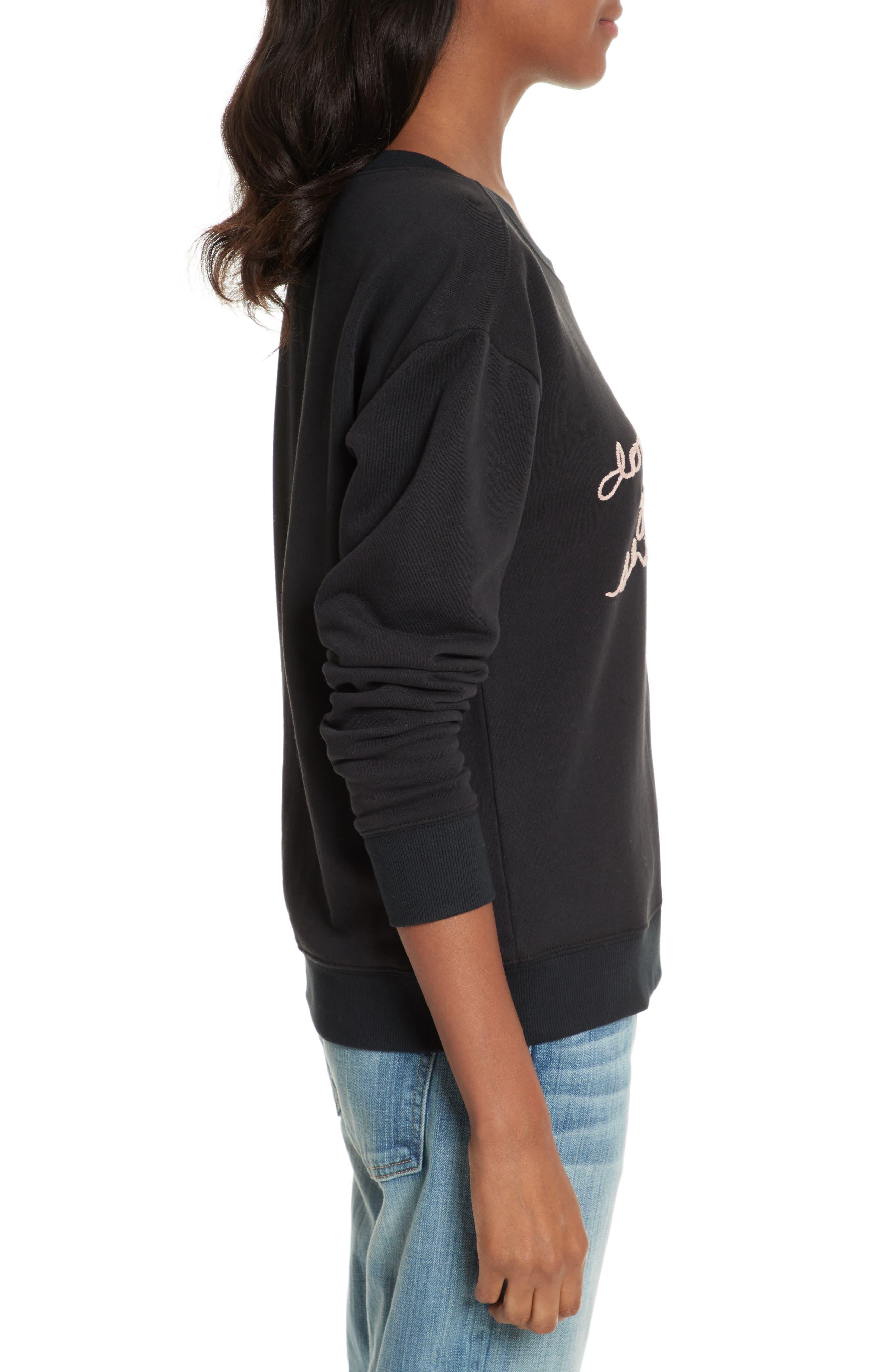 Rikke B Embroidered Sweatshirt,                             Alternate thumbnail 3, color,                             Caviar