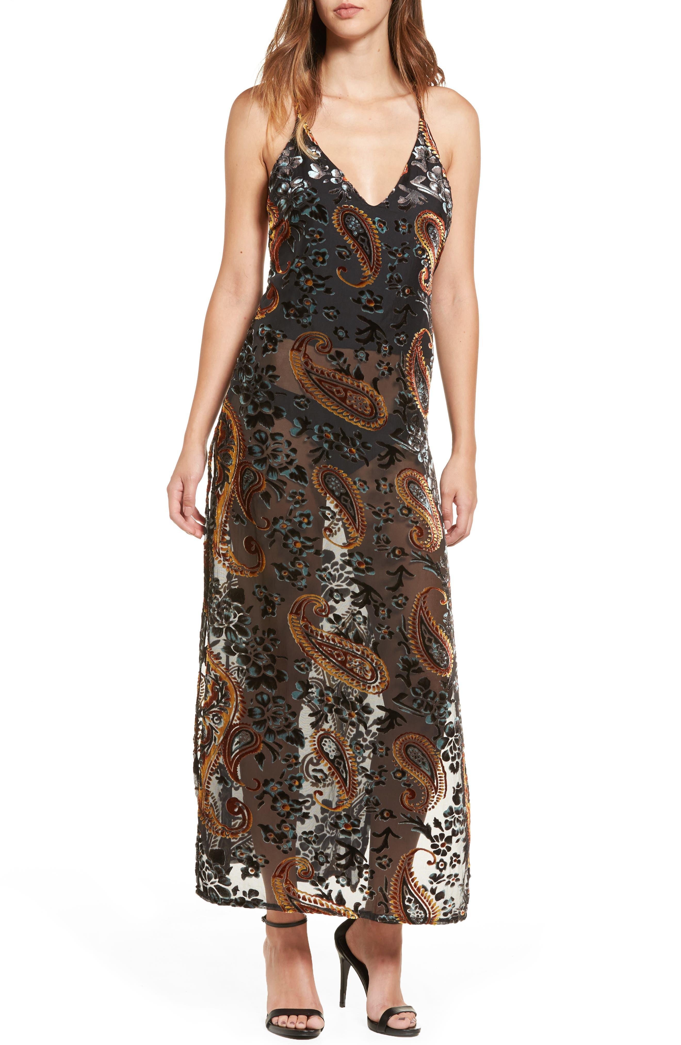 Lioness Don't Be Jealous Burnout Velvet Maxi Dress