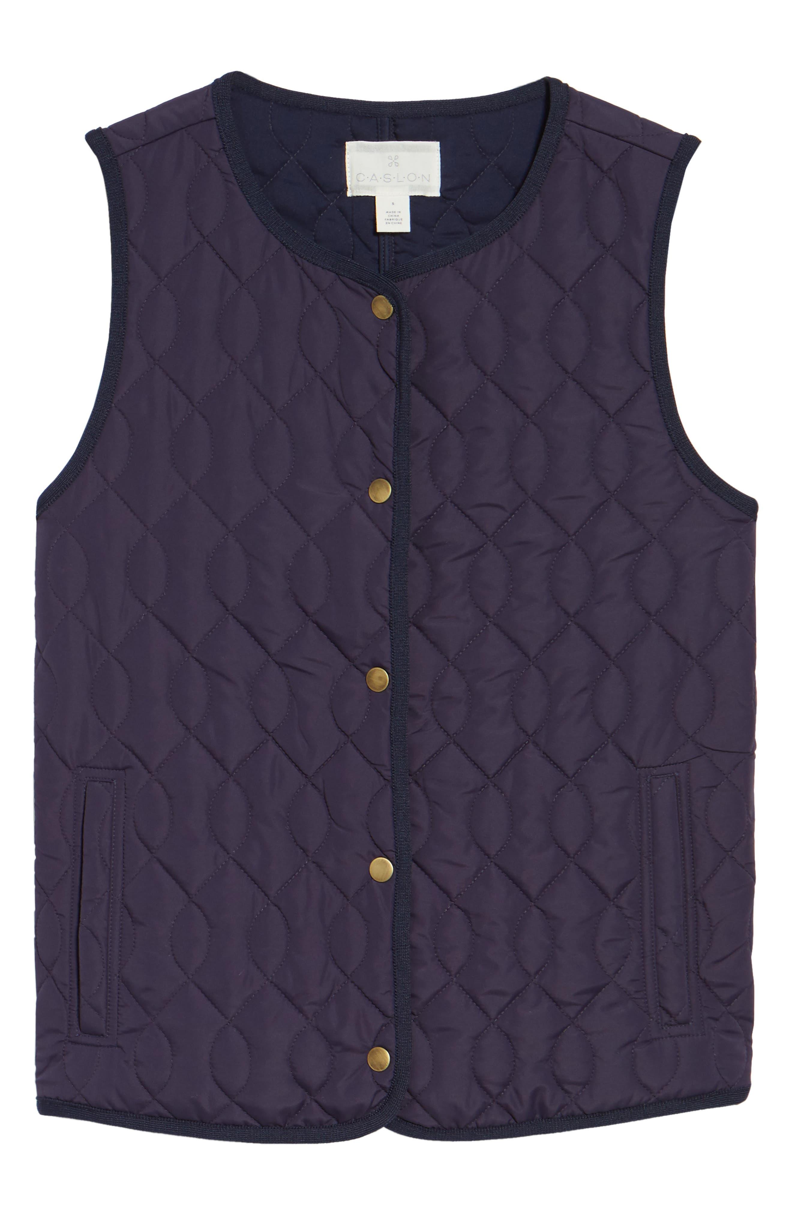 Alternate Image 6  - Caslon® Collarless Quilted Vest (Regular & Petite)