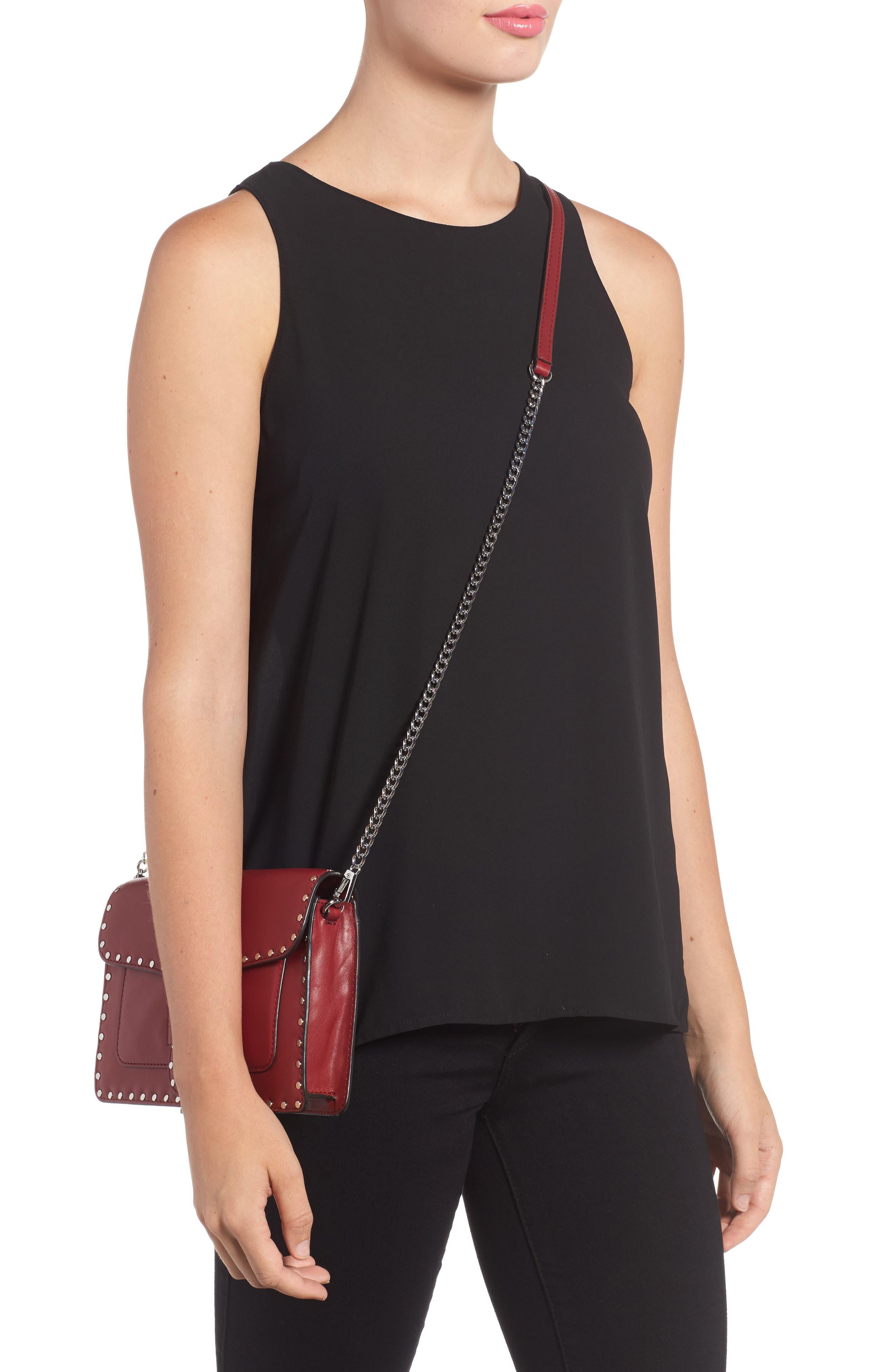 Medium Midnighter Leather Crossbody Bag,                             Alternate thumbnail 2, color,                             Acai