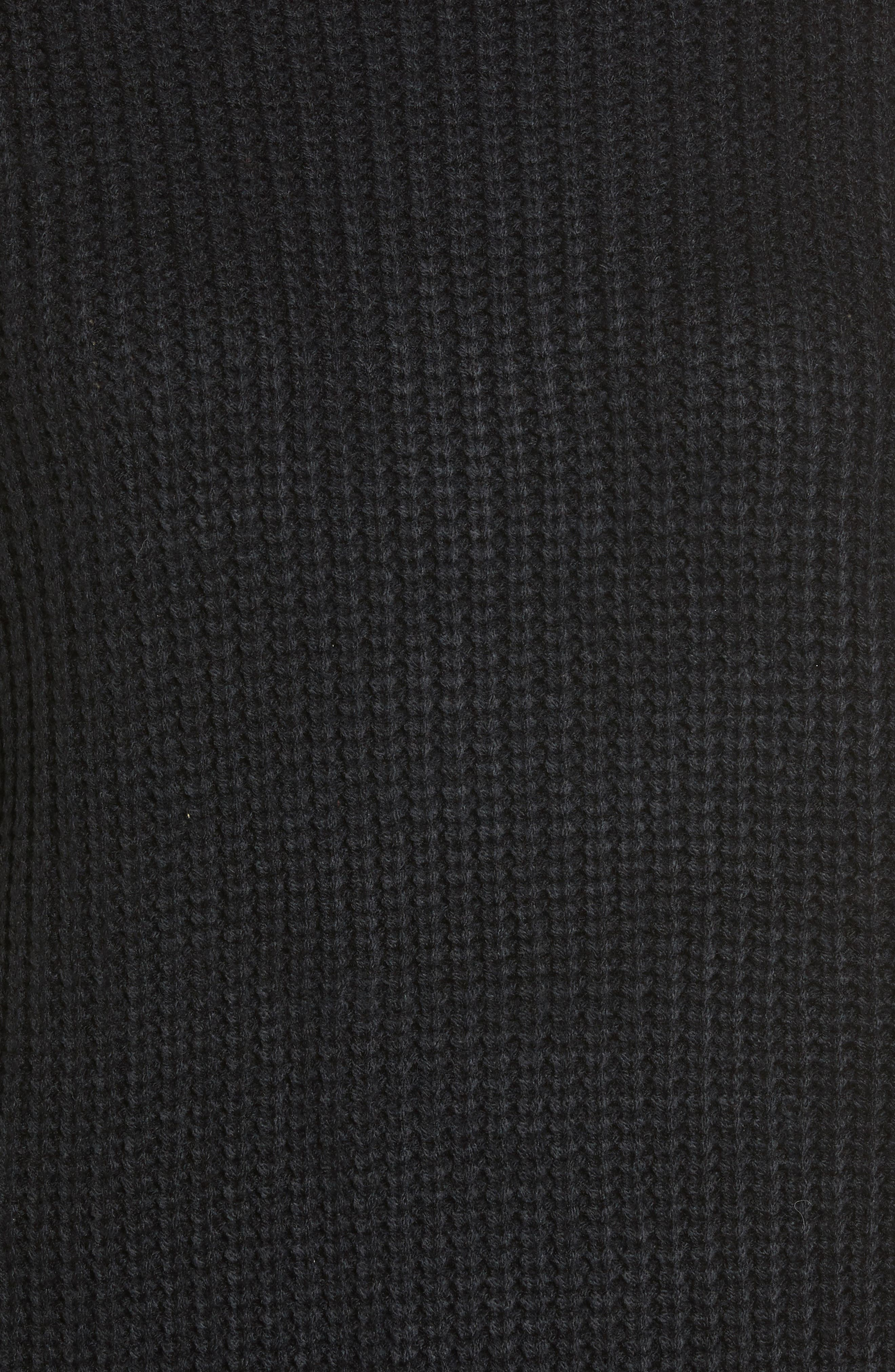 Embroidered Waffle Stitch Sweater,                             Alternate thumbnail 5, color,                             Black