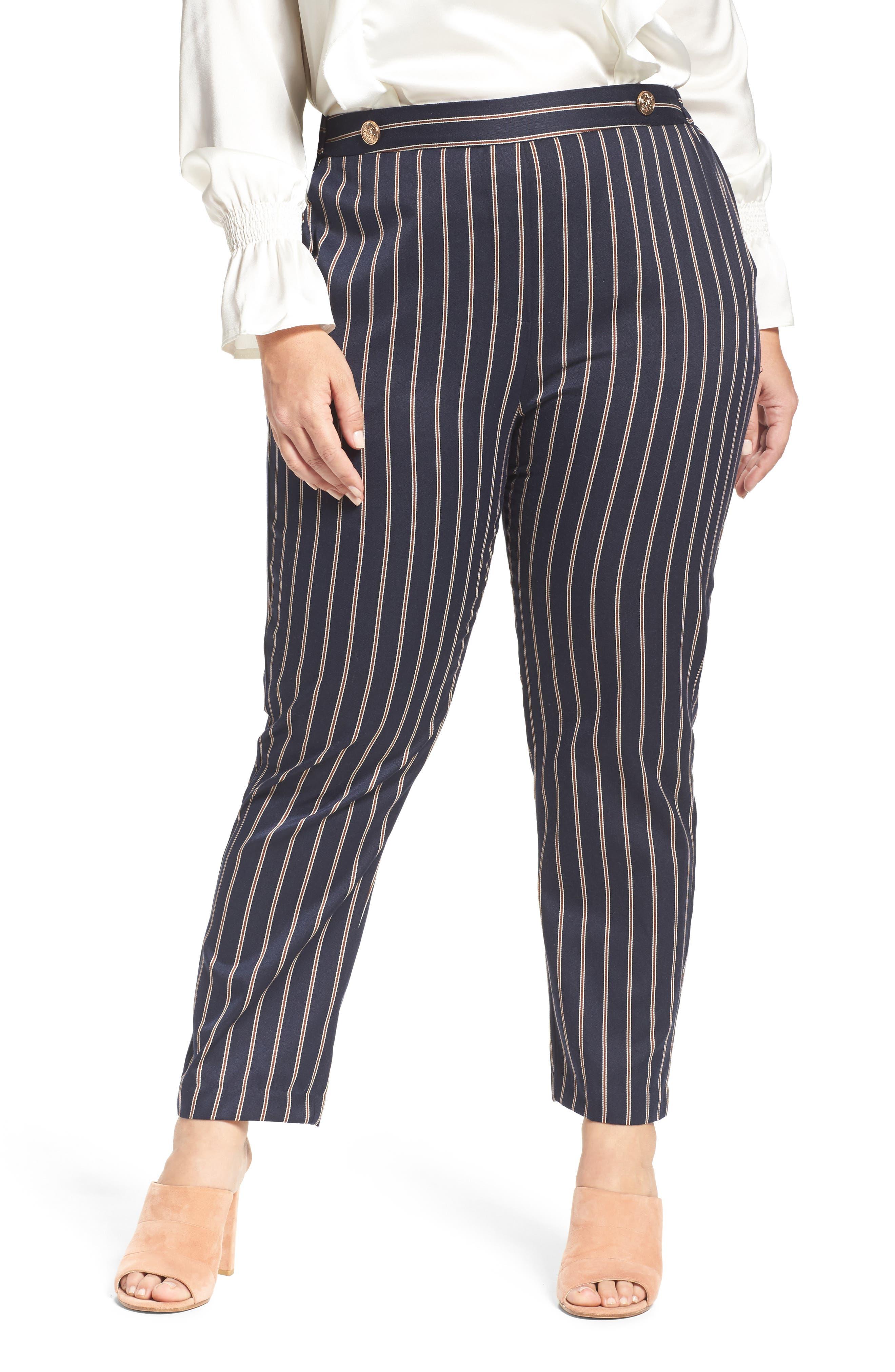 ELVI Pinstripe Trousers (Plus Size)