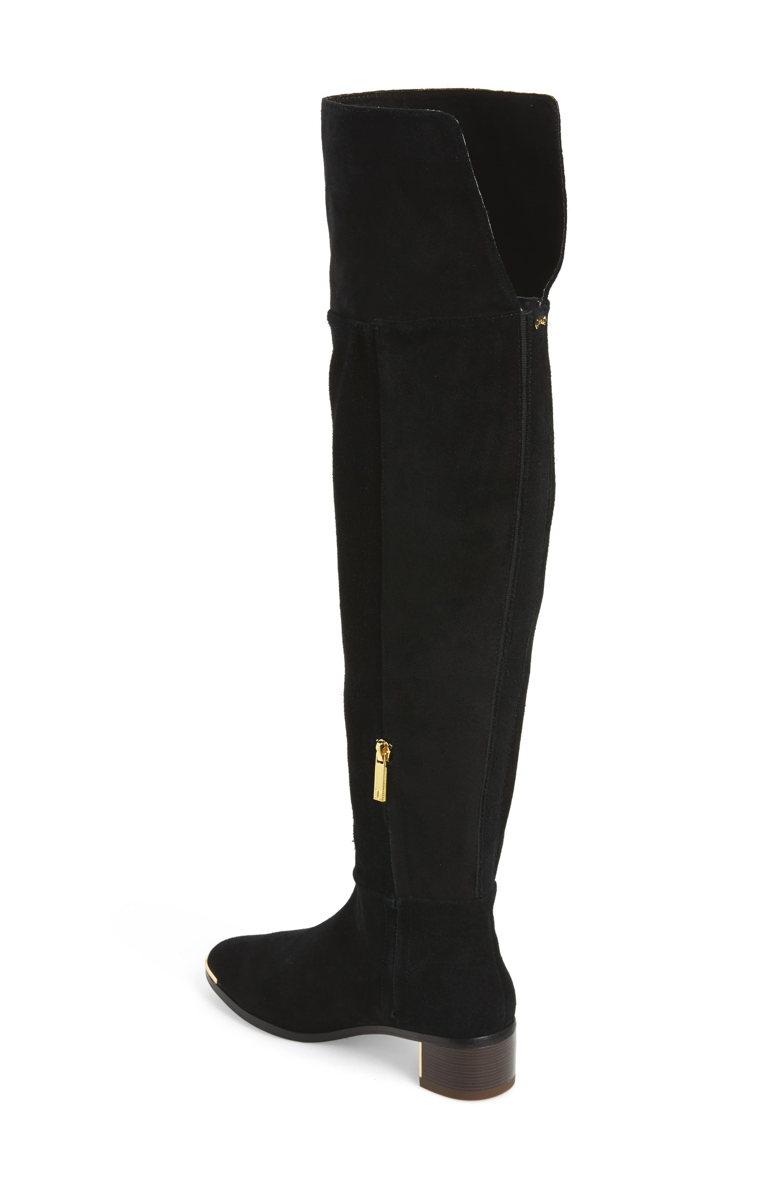 Nayomie Over the Knee Boot,                             Alternate thumbnail 2, color,                             Black Suede