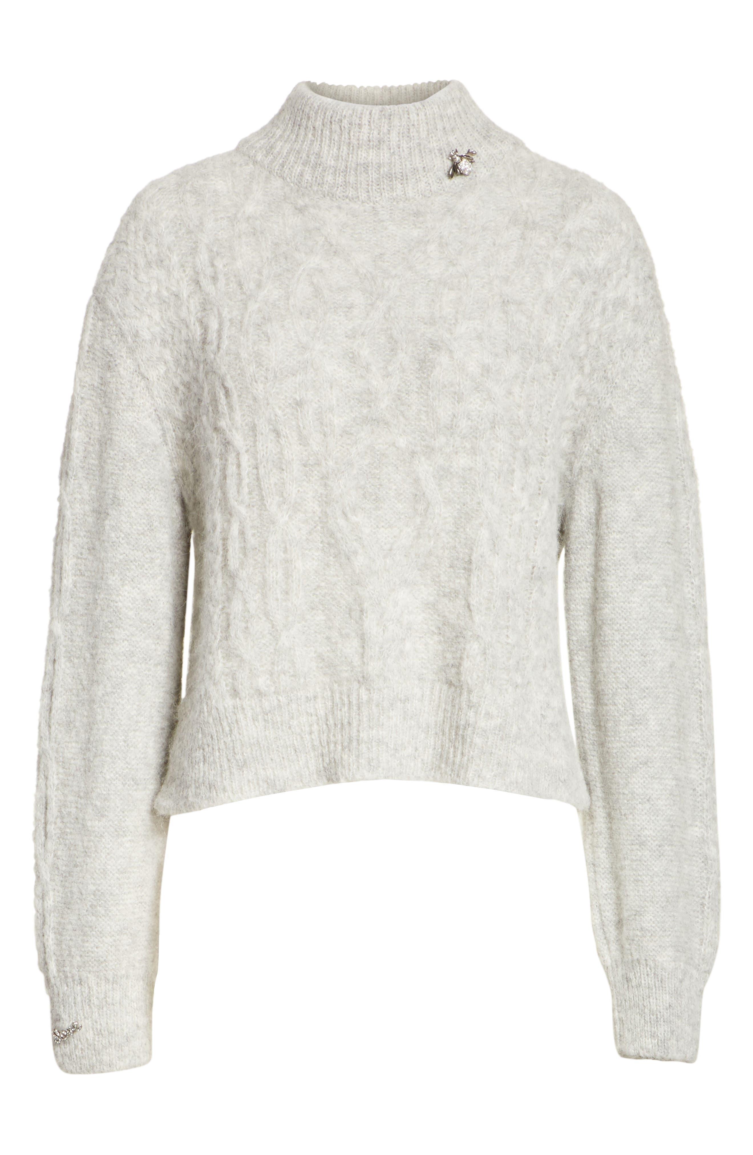 Garlan Mock Neck Sweater,                             Alternate thumbnail 6, color,                             Light Heather Grey