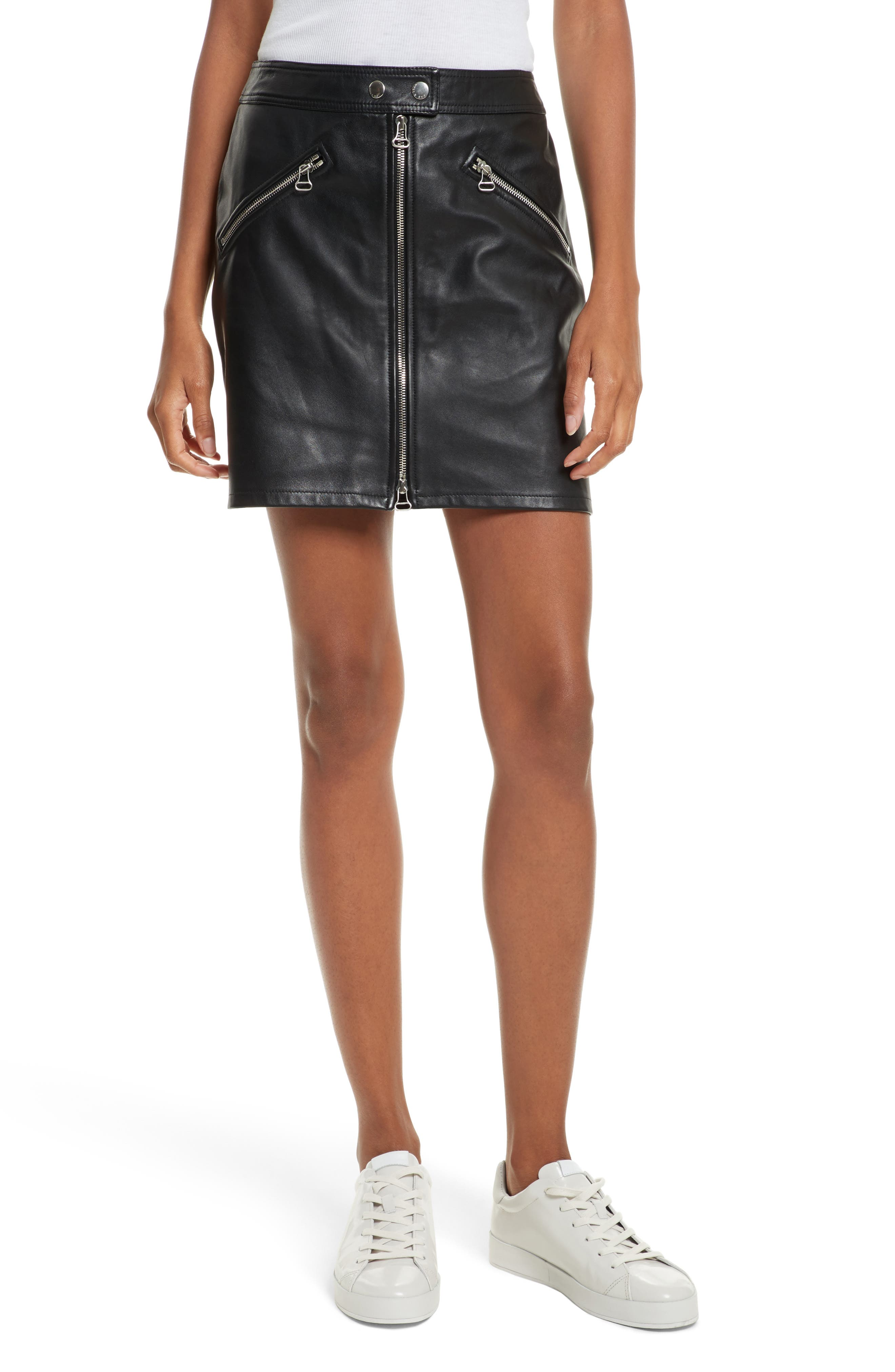 Racer Leather Miniskirt,                             Main thumbnail 1, color,                             Black Leather