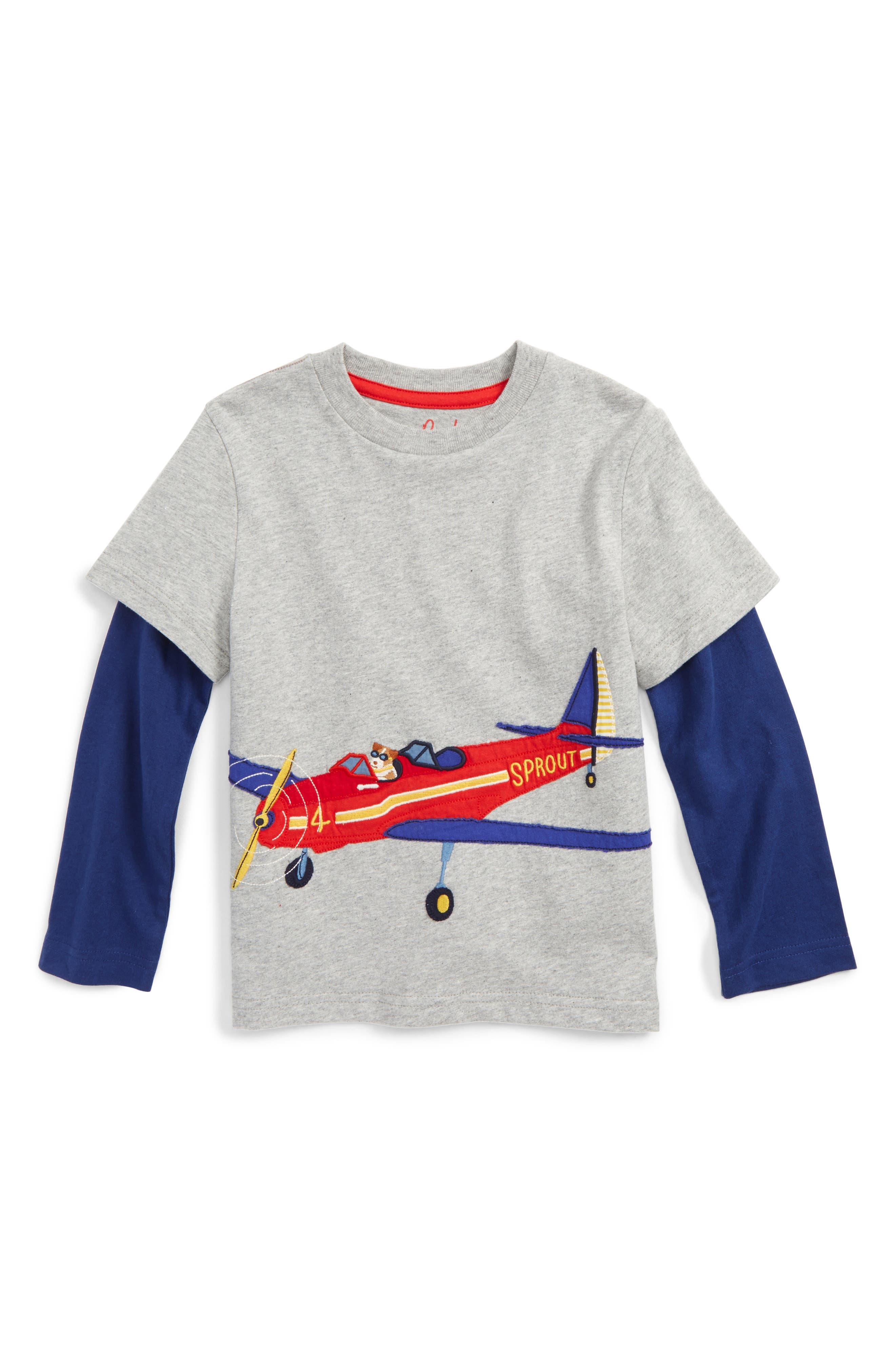 Vehicle Appliqué Layer T-Shirt,                         Main,                         color, Grey Marl Aeroplane