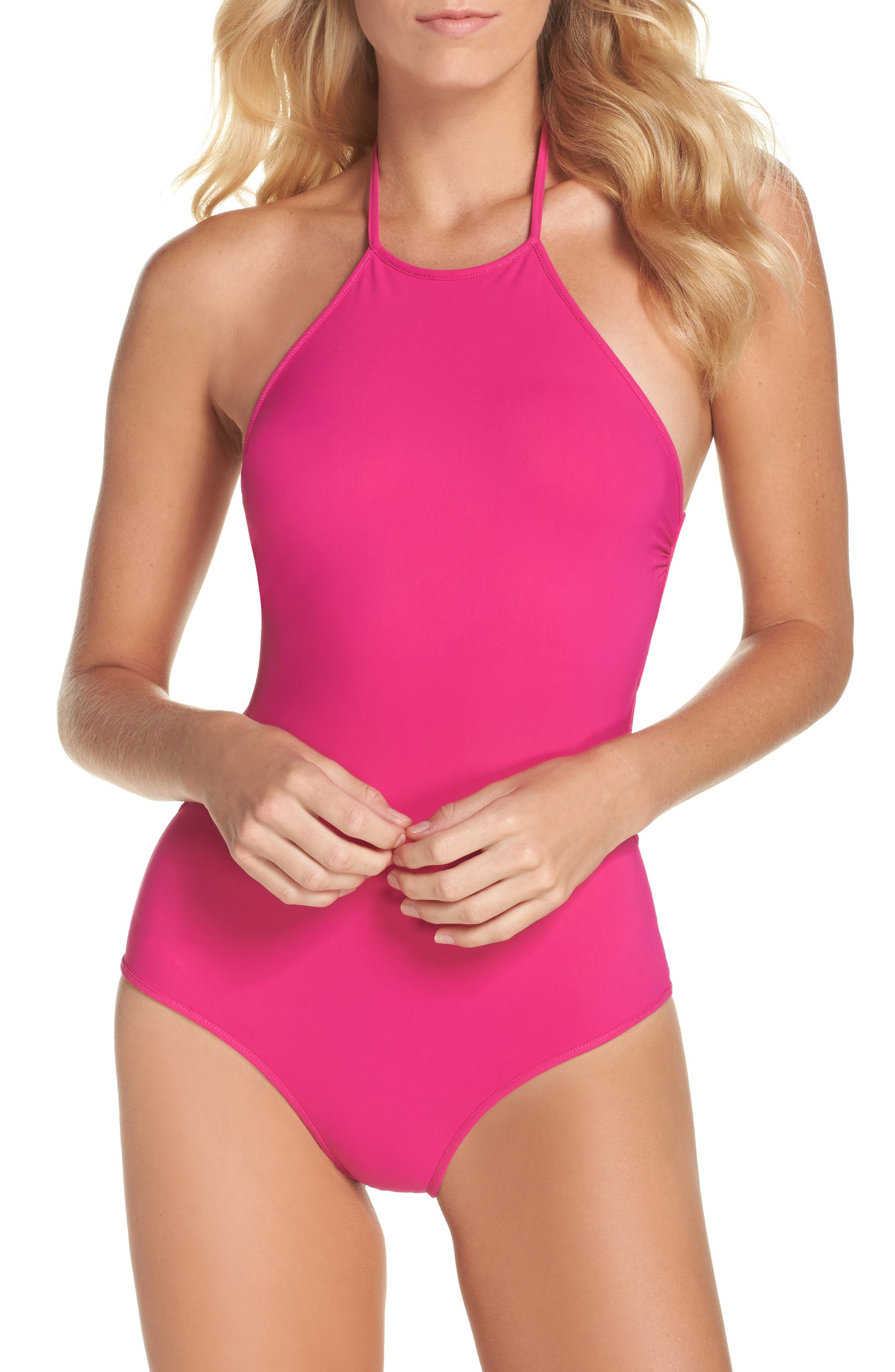 Halter One-Piece Swimsuit,                         Main,                         color, Hot Pink