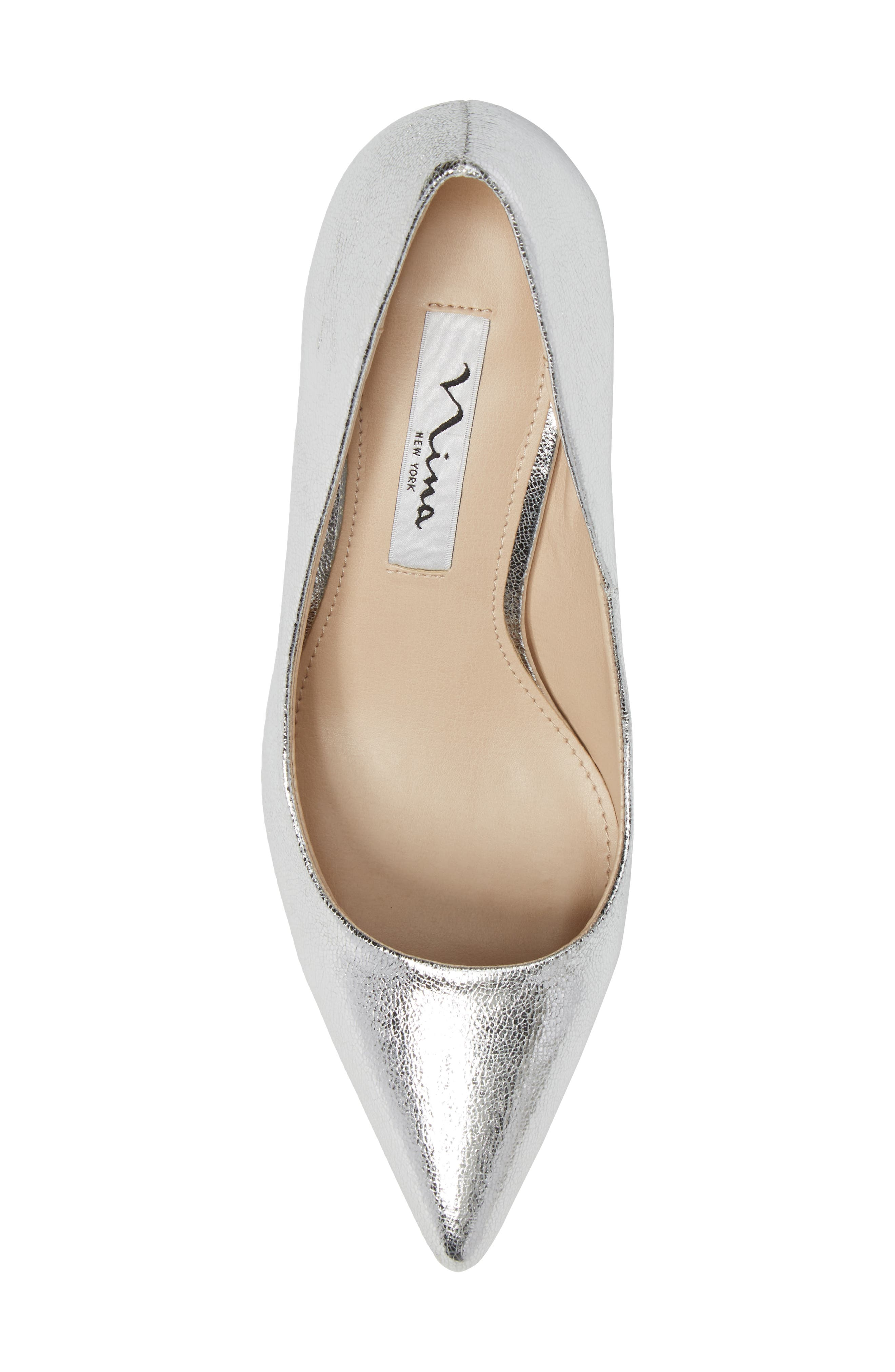 Tinsley Pointy Toe Pump,                             Alternate thumbnail 5, color,                             Silver Fabric