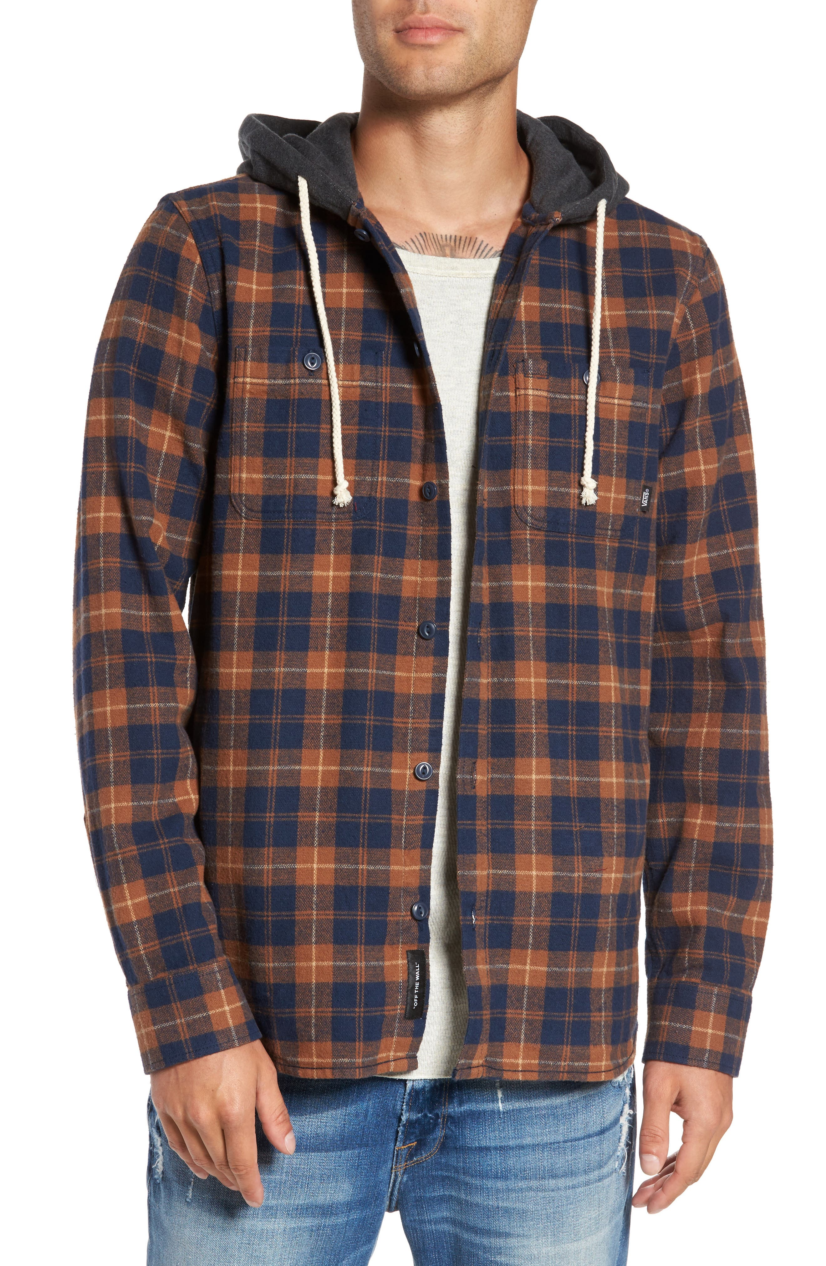 Vans Lopes Hooded Plaid Shirt Jacket