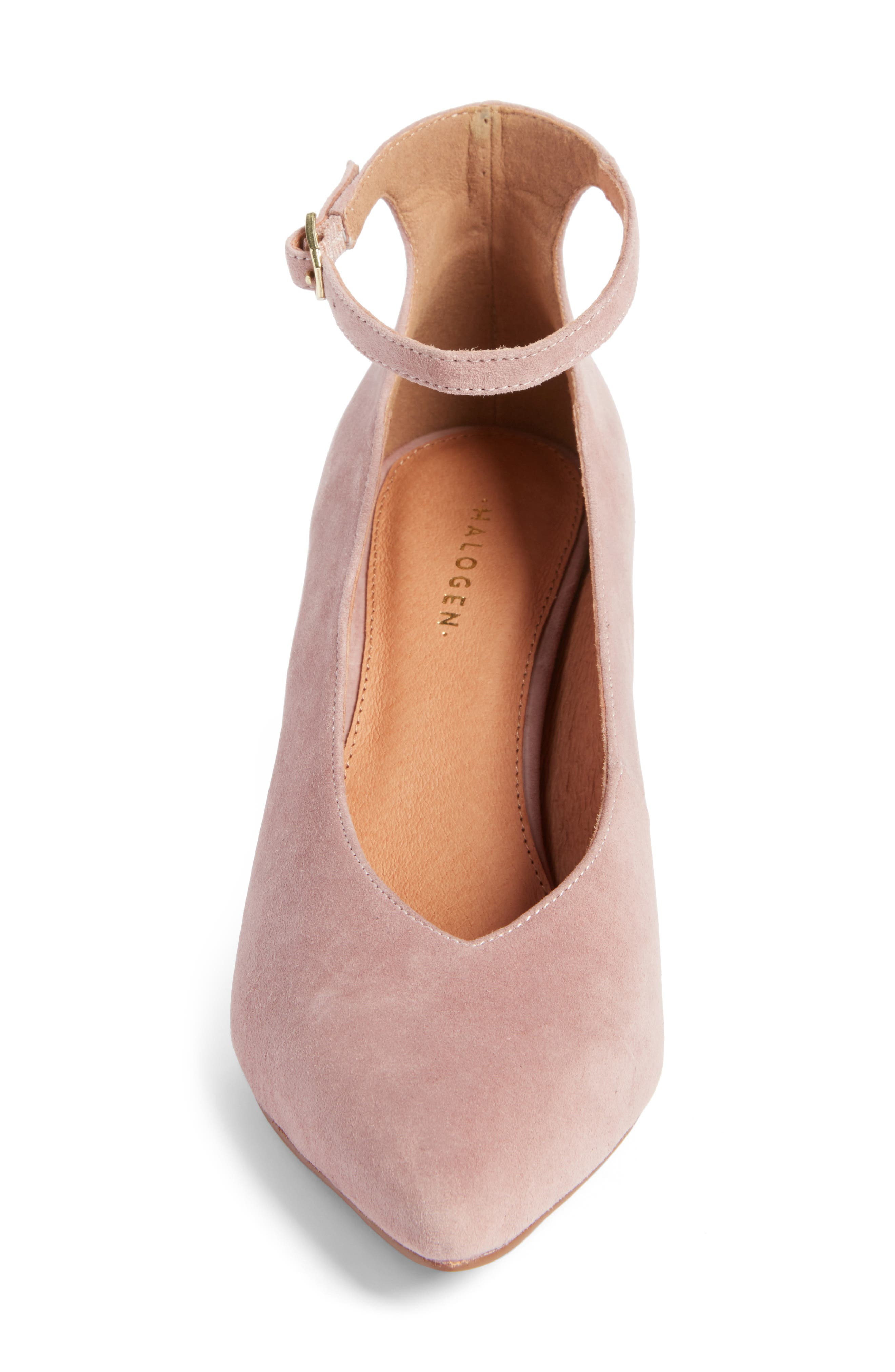 Azaela Ankle Strap Pump,                             Alternate thumbnail 5, color,                             Dark Pink Suede