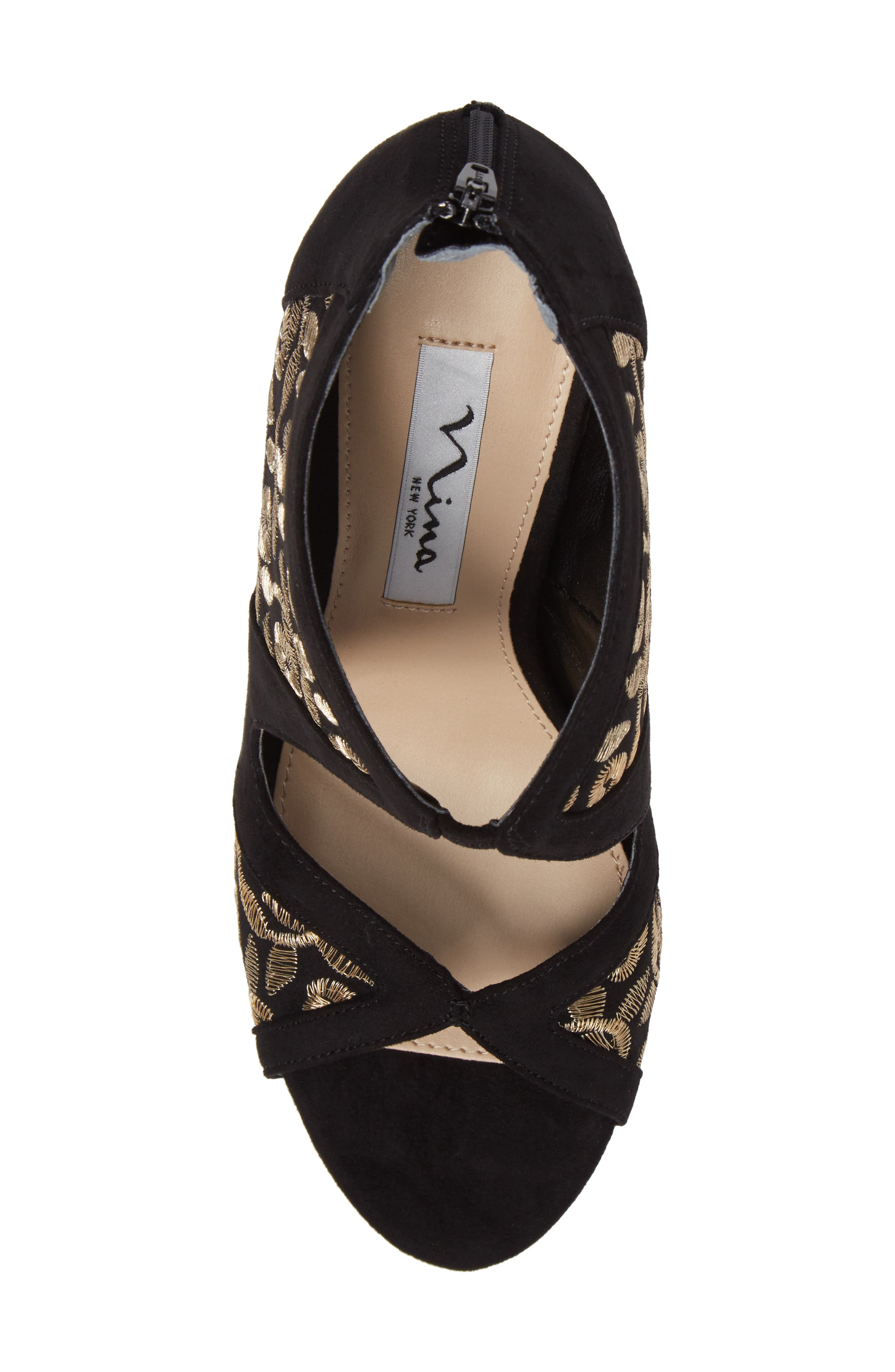 Cordella Open Toe Pump,                             Alternate thumbnail 5, color,                             Black/ Gold Embroidery Fabric