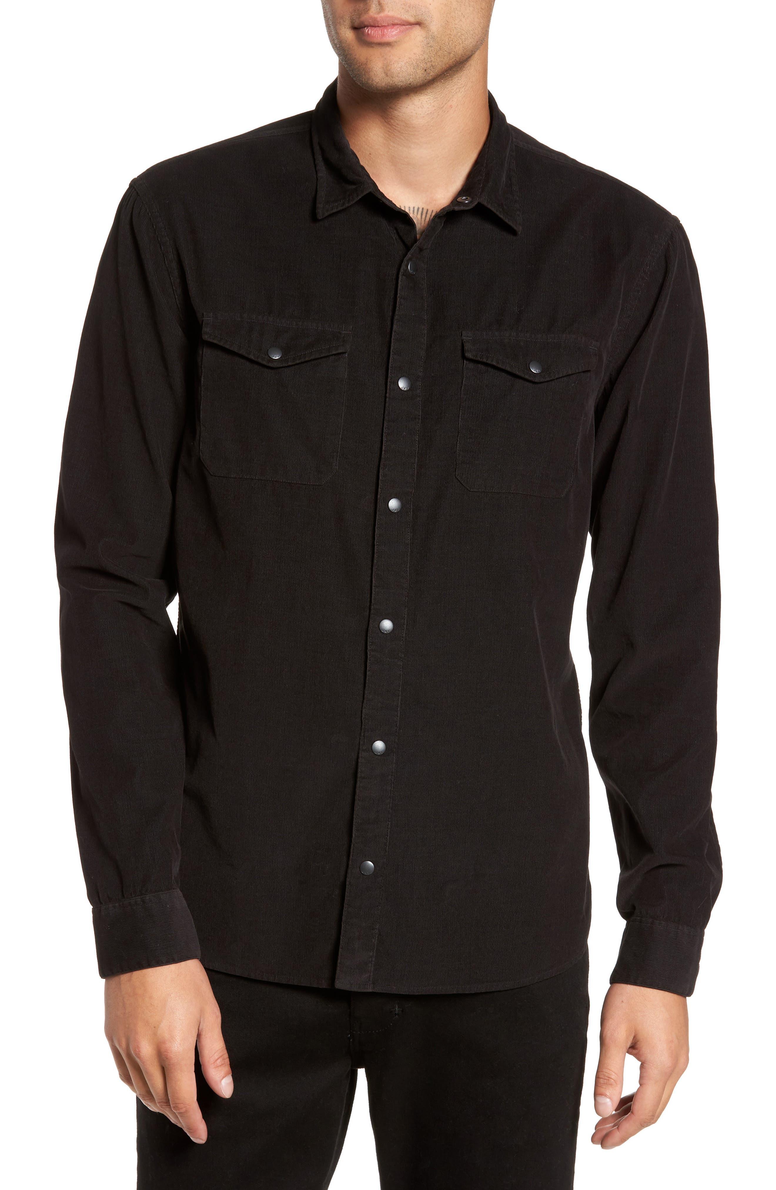 Snap Front Corduroy Sport Shirt,                         Main,                         color, Black