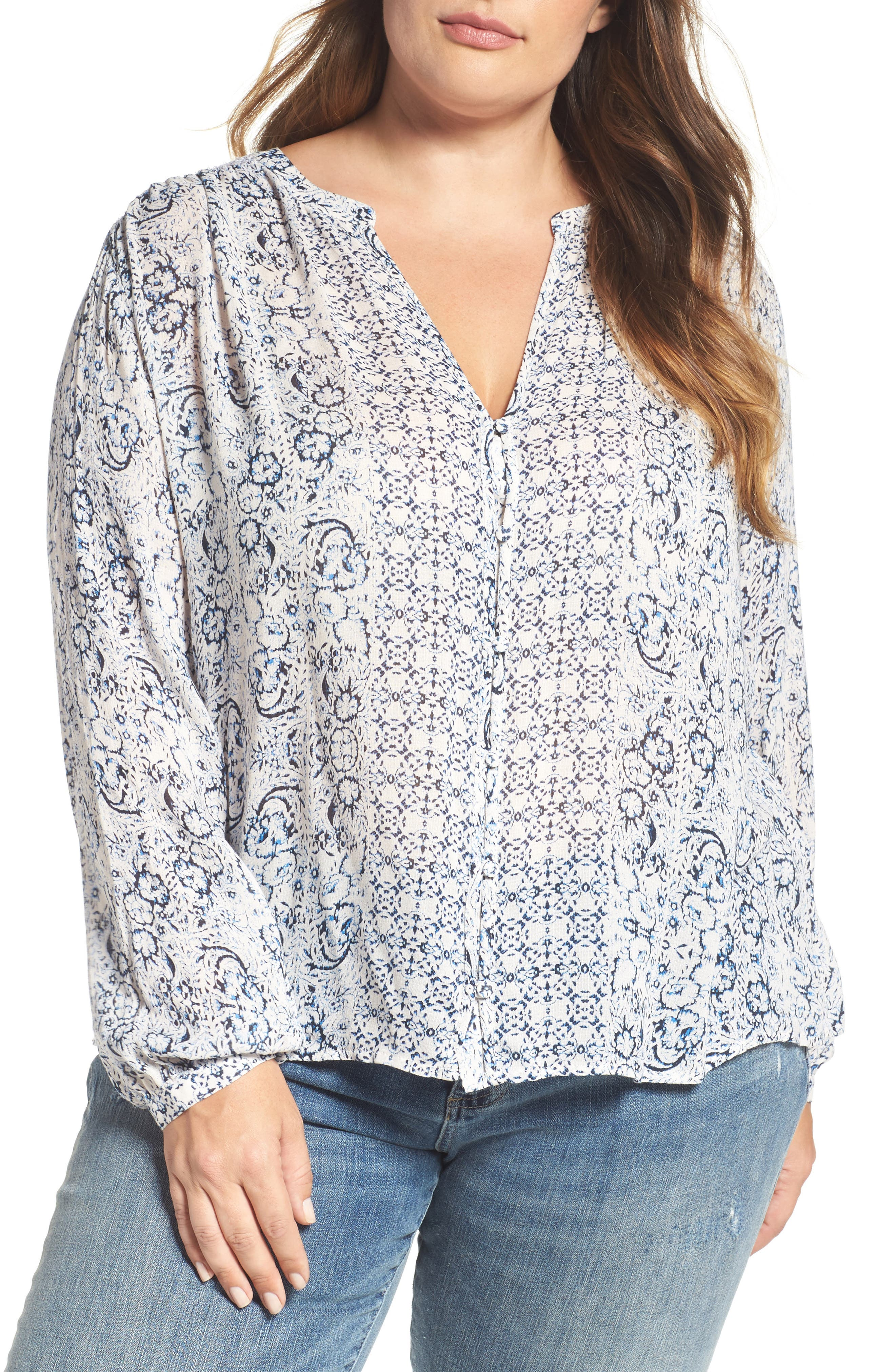 Alternate Image 1 Selected - Lucky Brand Smocked Peasant Top (Plus Size)