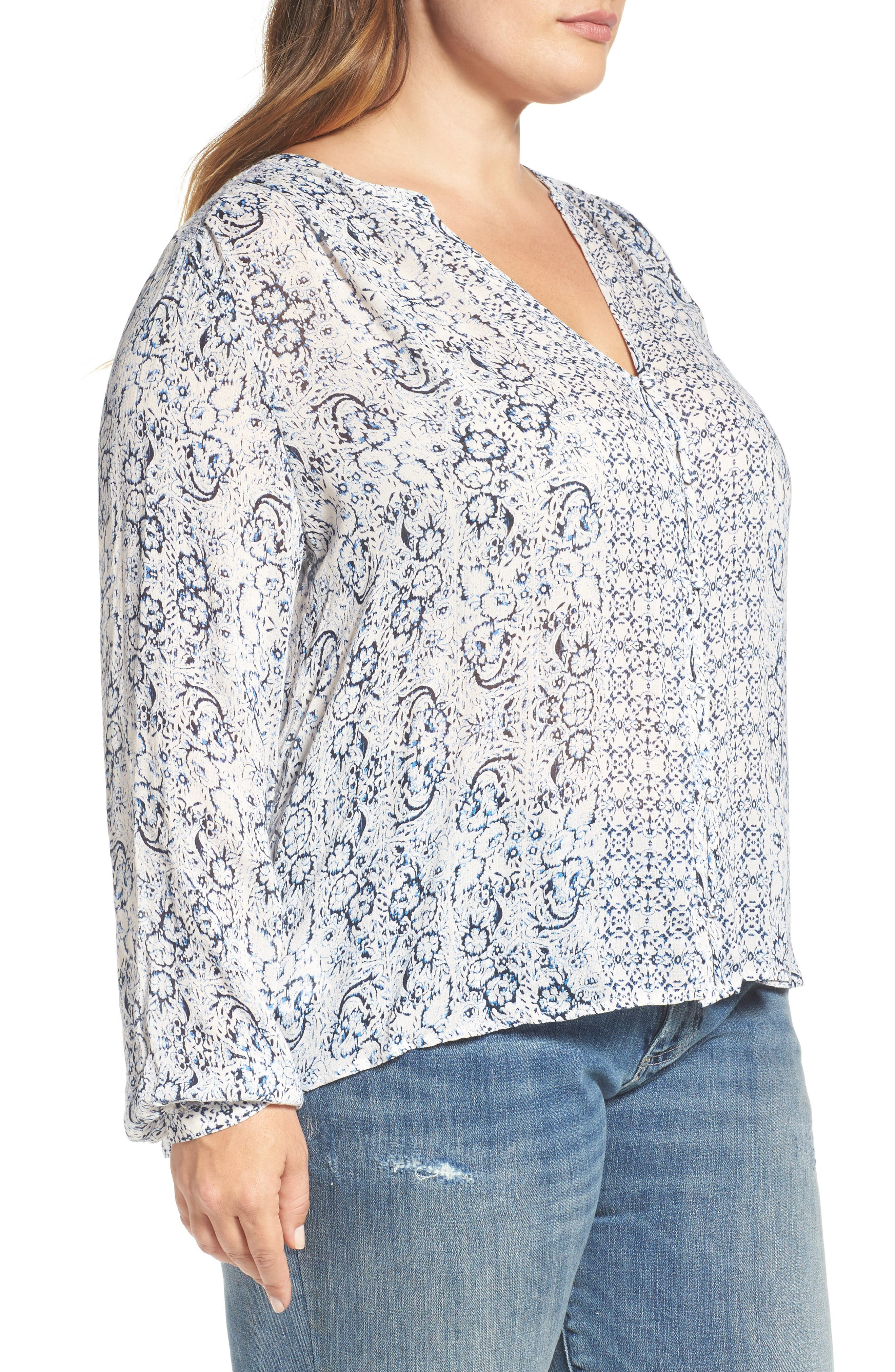 Alternate Image 3  - Lucky Brand Smocked Peasant Top (Plus Size)