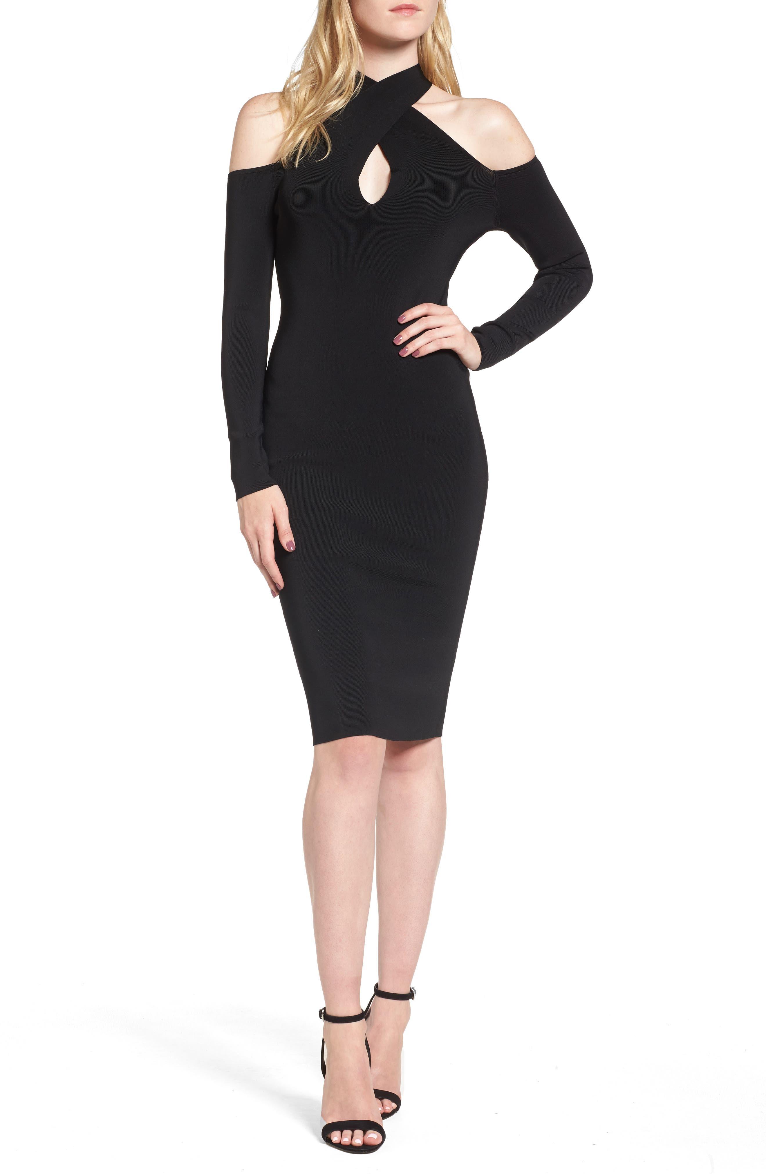 Halter Keyhole Sweater Dress,                             Main thumbnail 1, color,                             Black