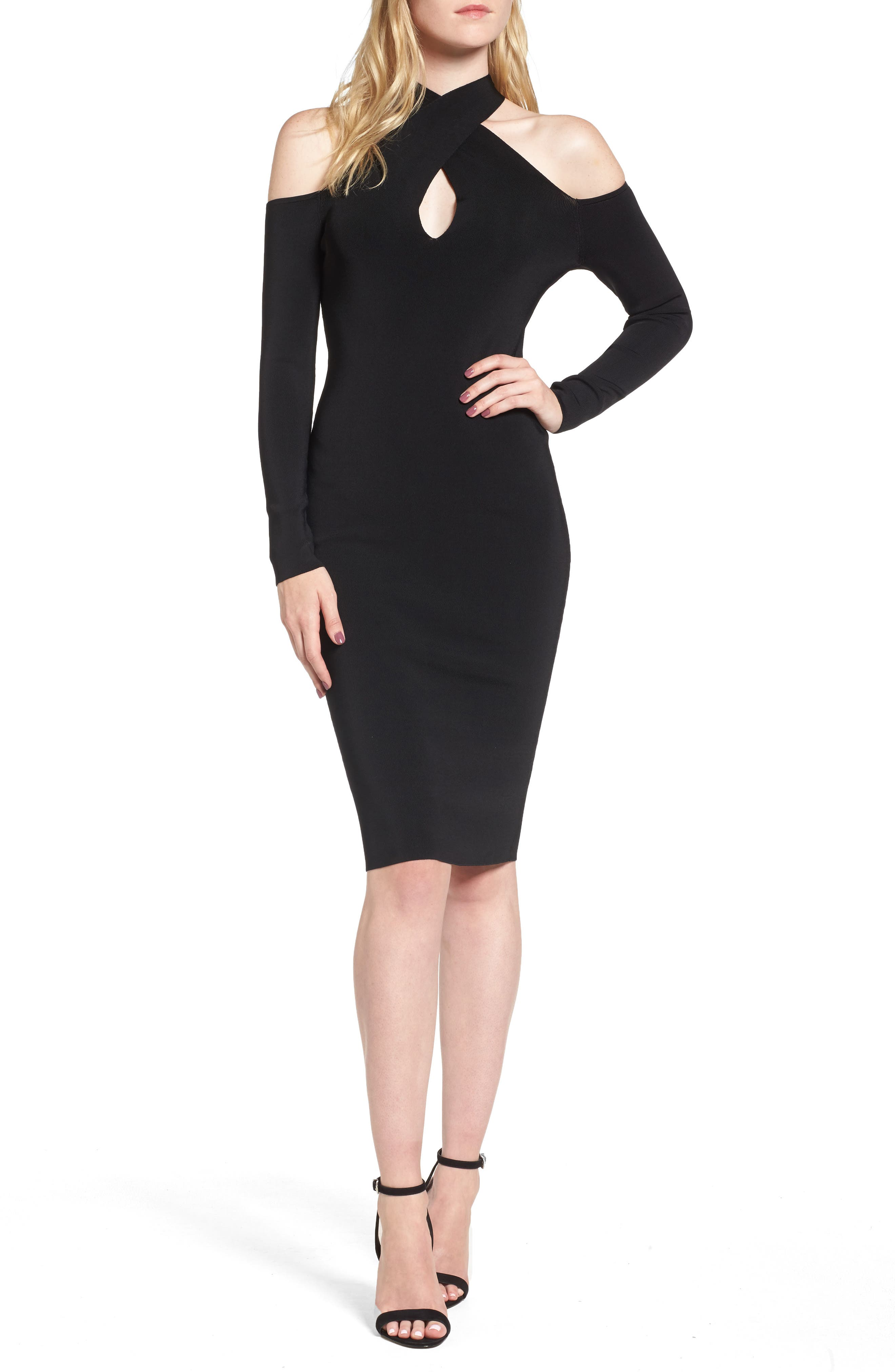 Halter Keyhole Sweater Dress,                         Main,                         color, Black