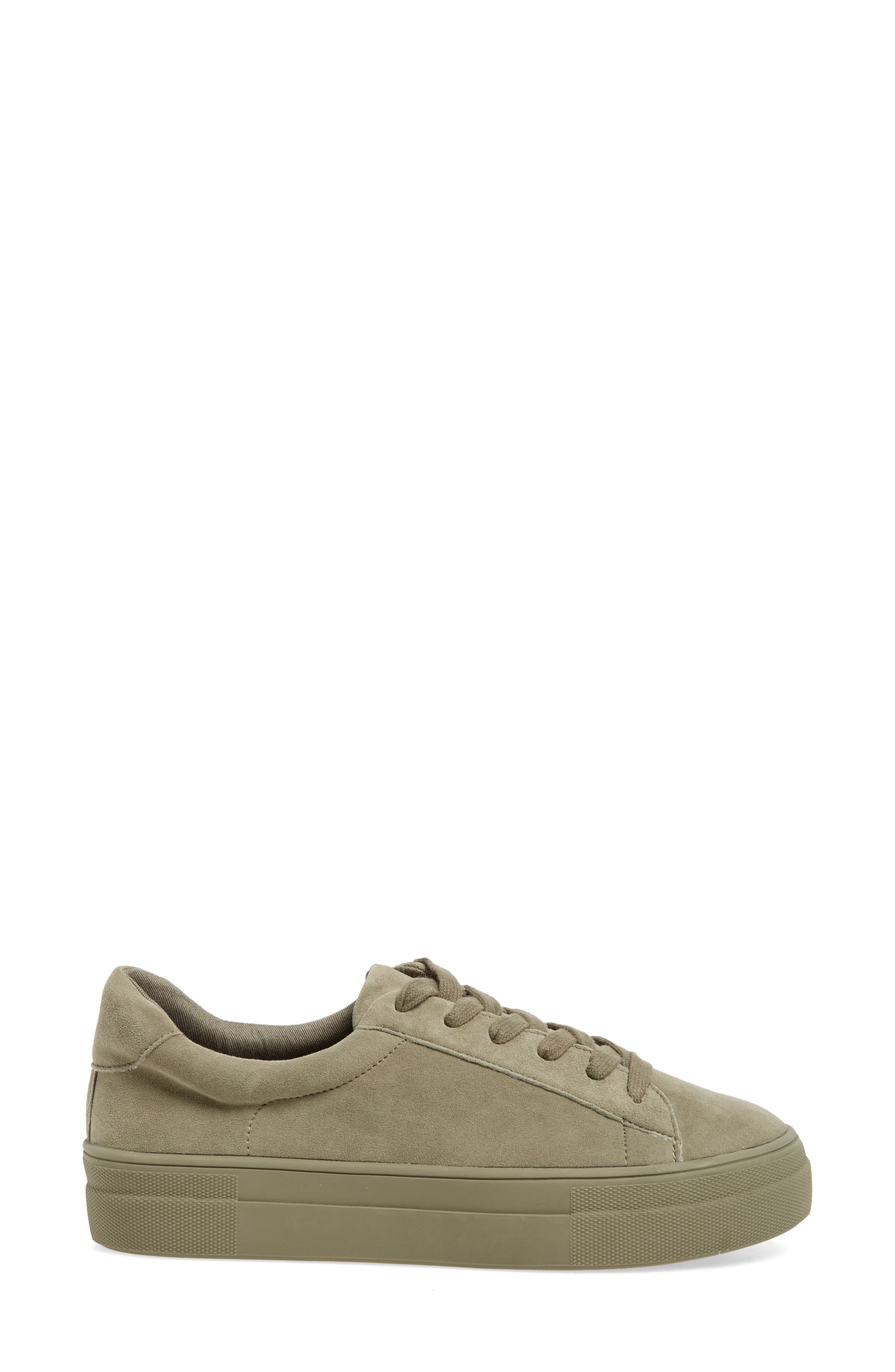 Gisela Low Top Sneaker,                             Alternate thumbnail 3, color,                             Olive Suede