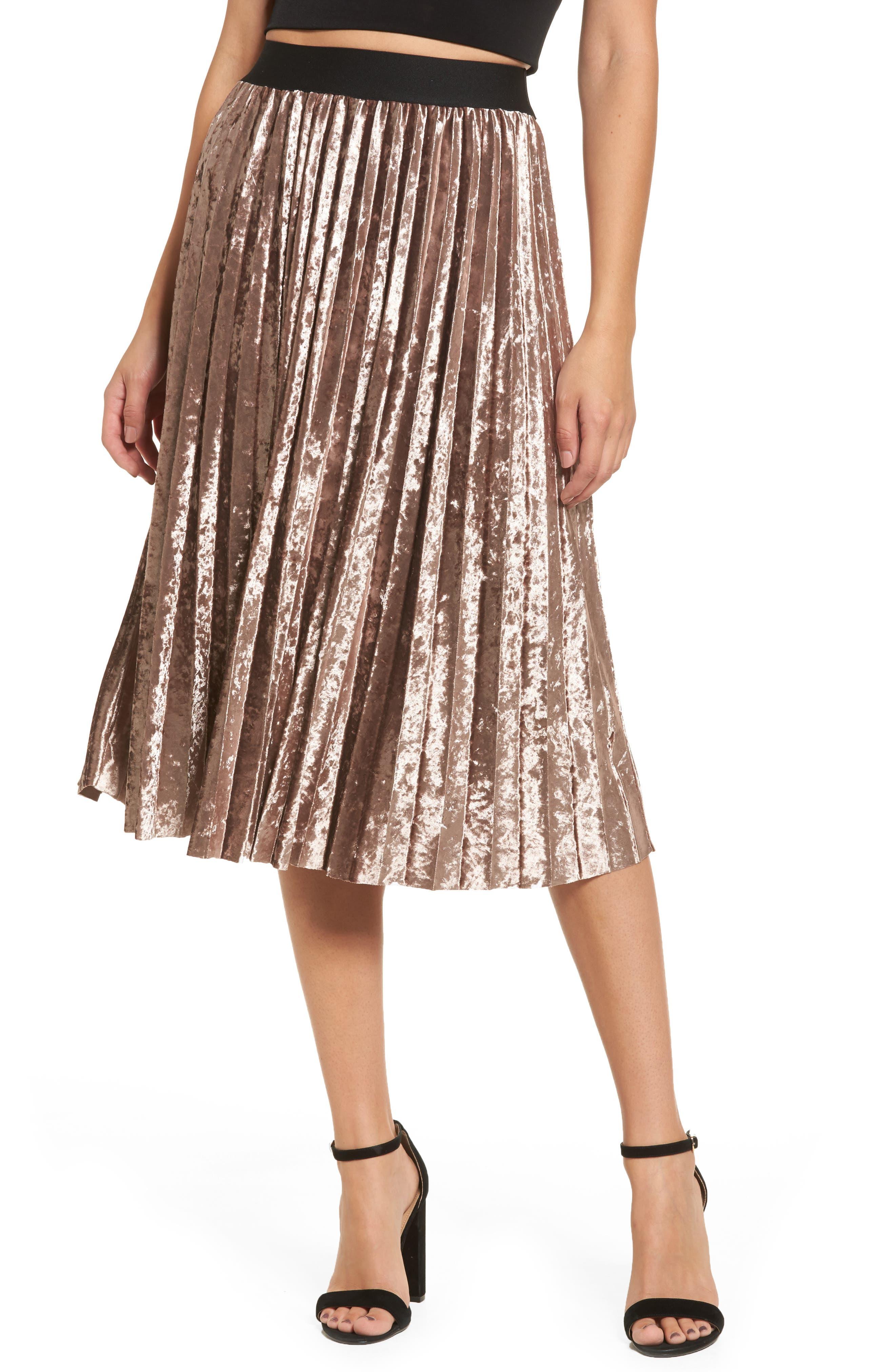 Pleated Velvet Skirt,                         Main,                         color, Mink