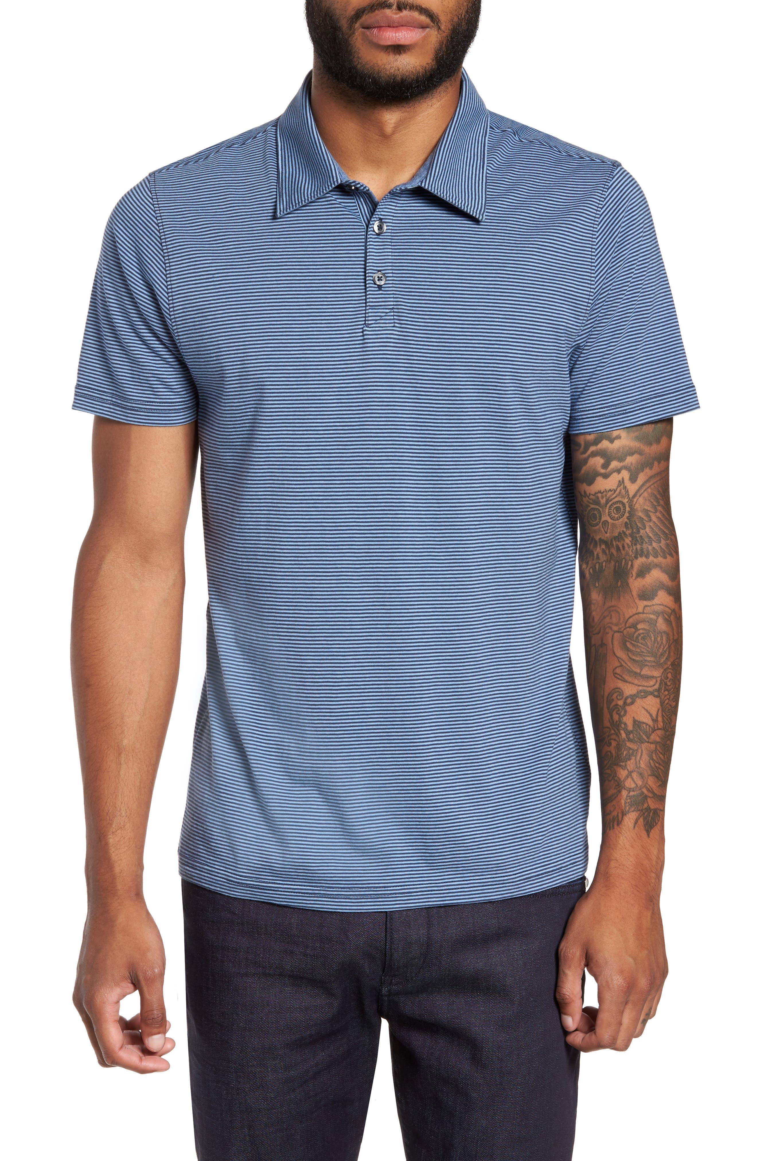 Gilmore Stripe Jersey Polo,                         Main,                         color, Blue