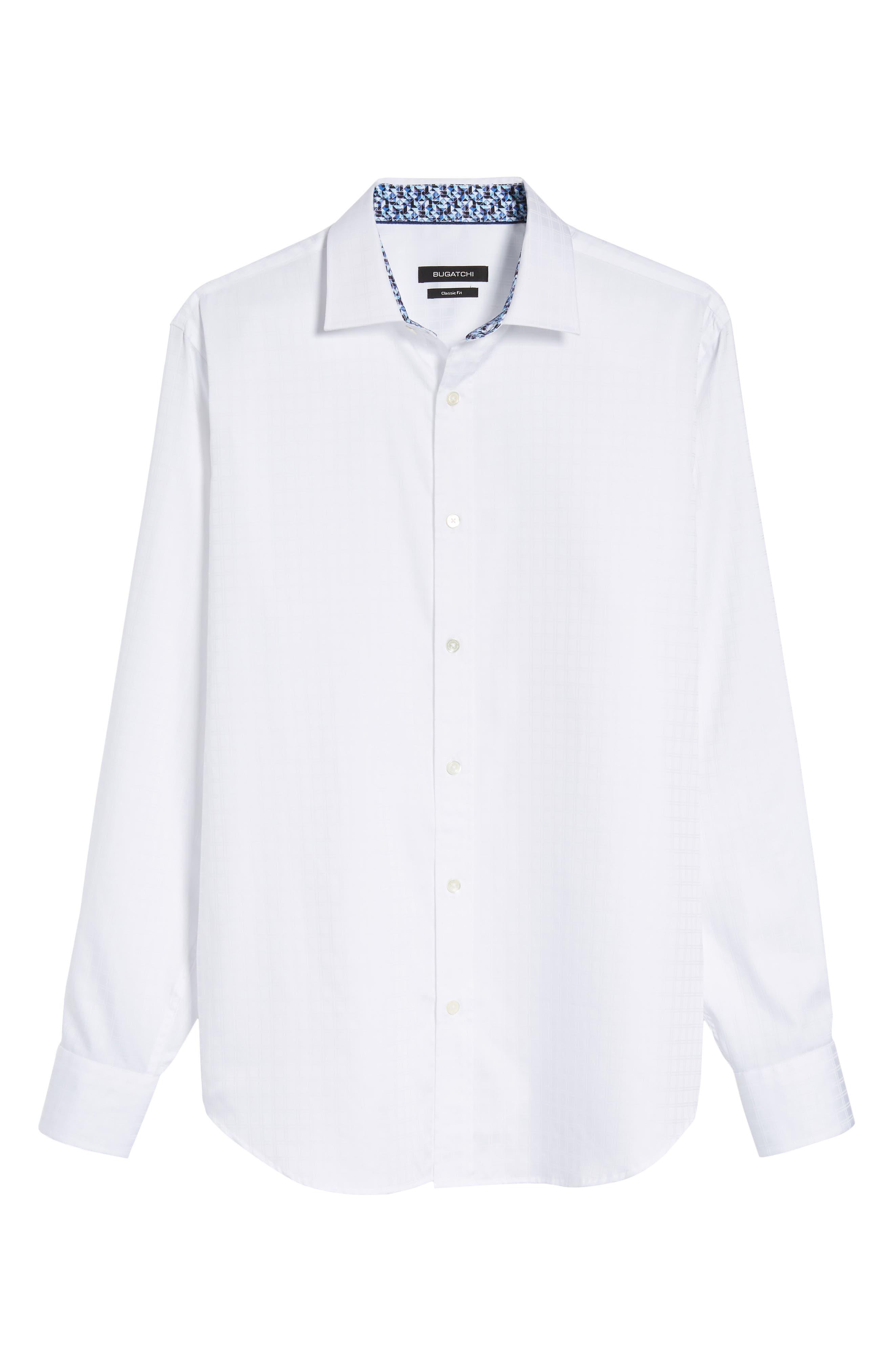 Classic Fit Check Jacquard Sport Shirt,                             Alternate thumbnail 6, color,                             White