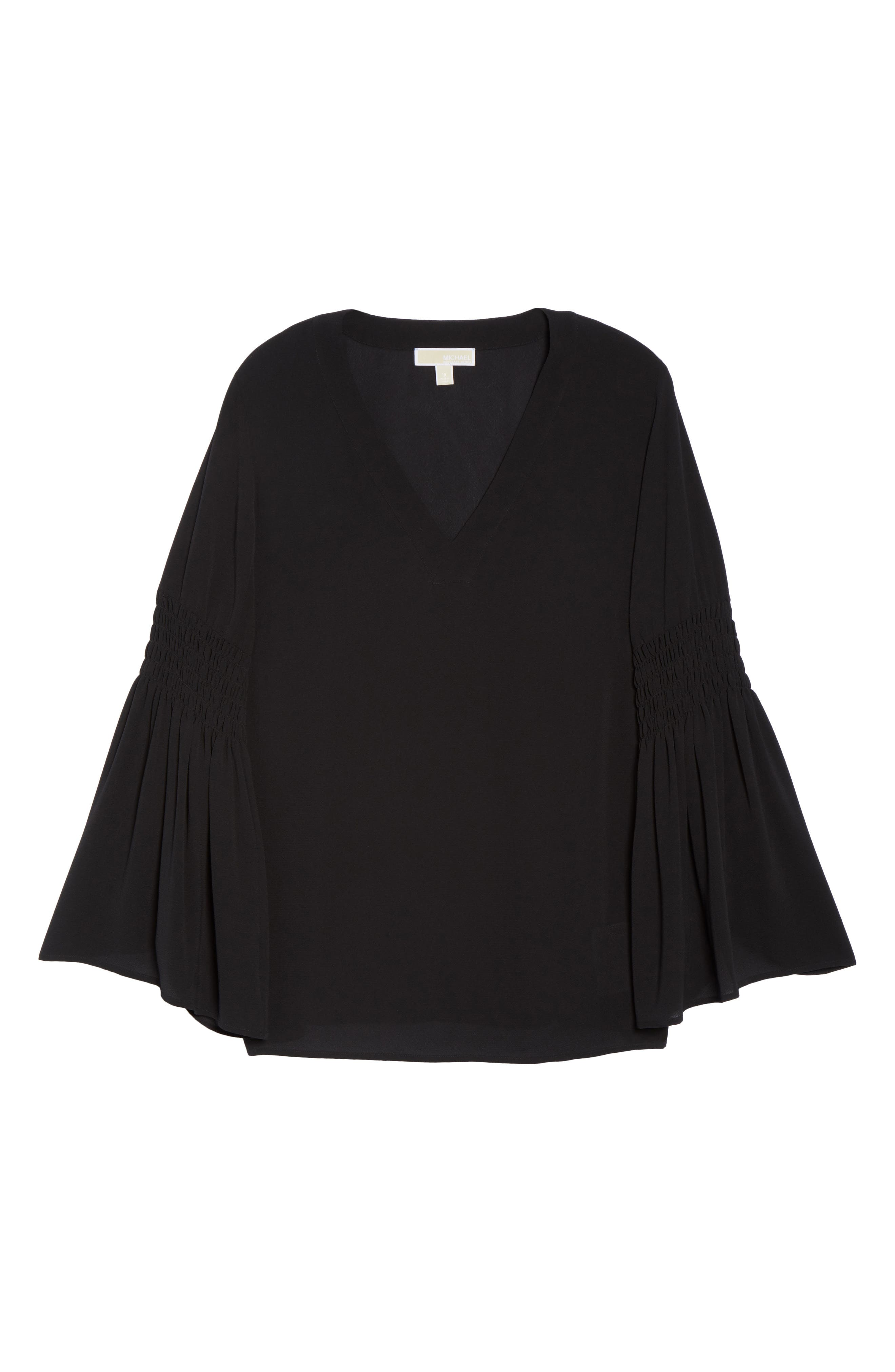 Bell Sleeve Tunic,                             Alternate thumbnail 6, color,                             Black